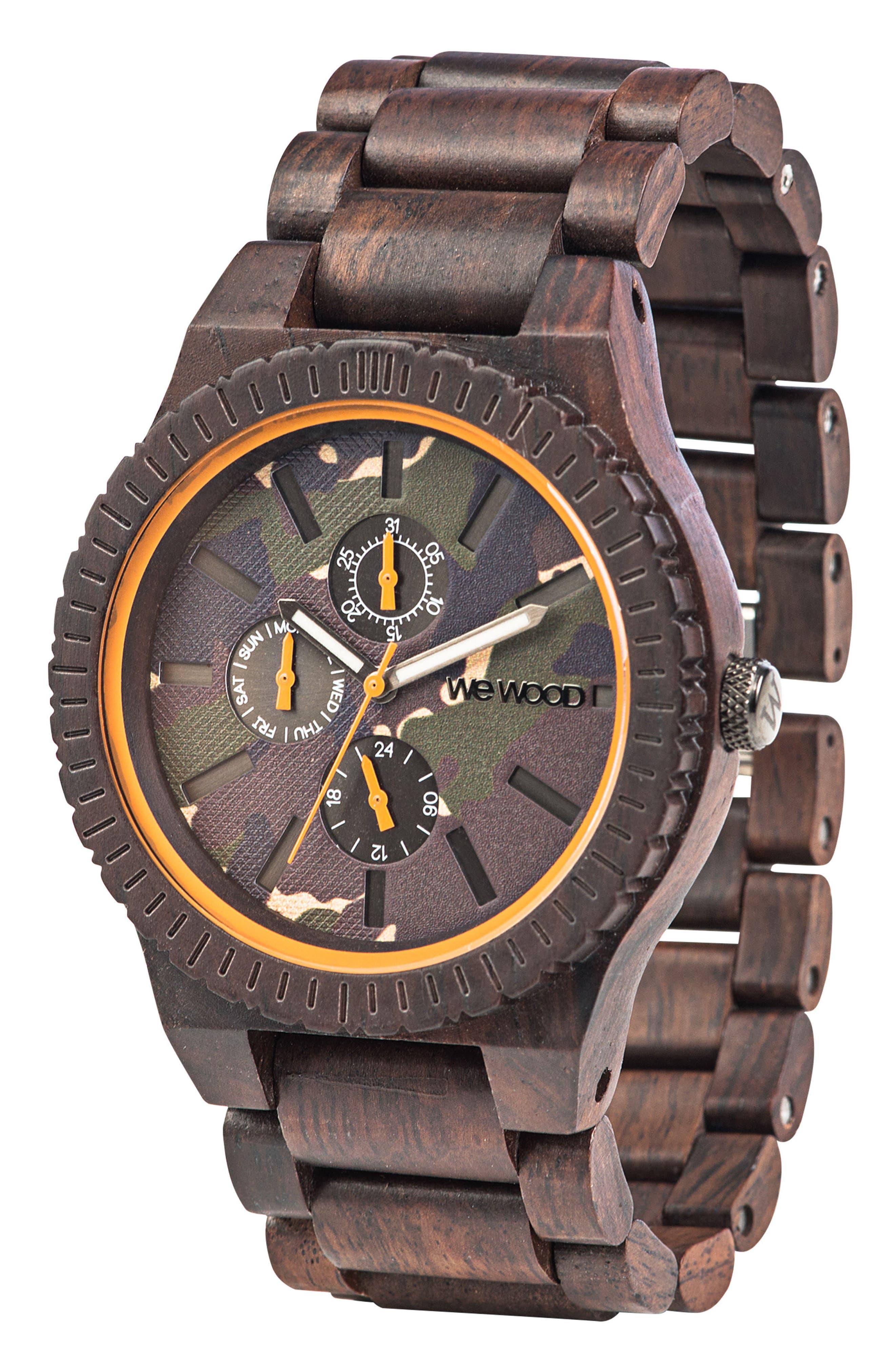 Kos Multifunctional Wood Bracelet Watch, 46mm,                             Alternate thumbnail 3, color,                             200