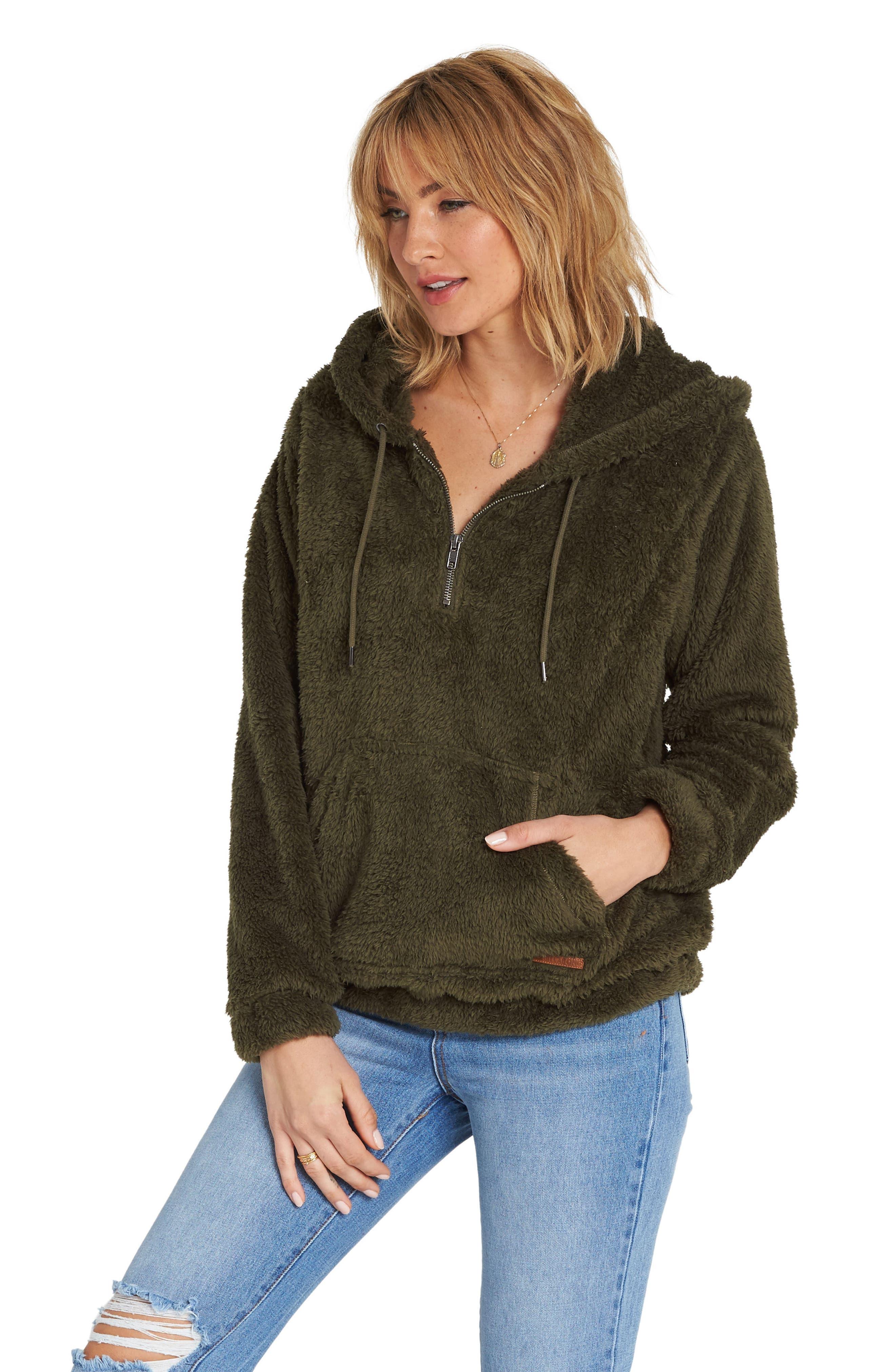 Cozy for Keeps Fleece Zip Hoodie,                             Alternate thumbnail 3, color,                             OLIVE