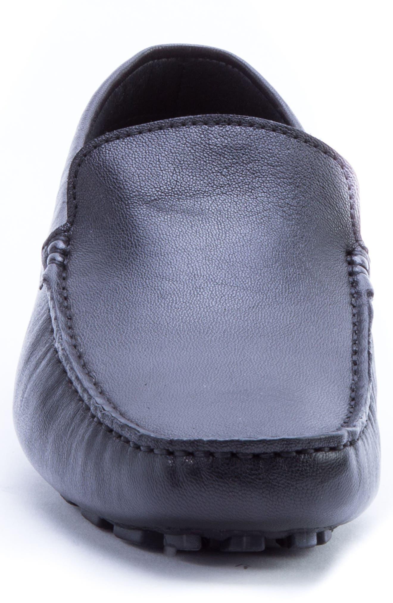 ZANZARA,                             Picasso 3 Moc Toe Driving Loafer,                             Alternate thumbnail 4, color,                             BLACK LEATHER