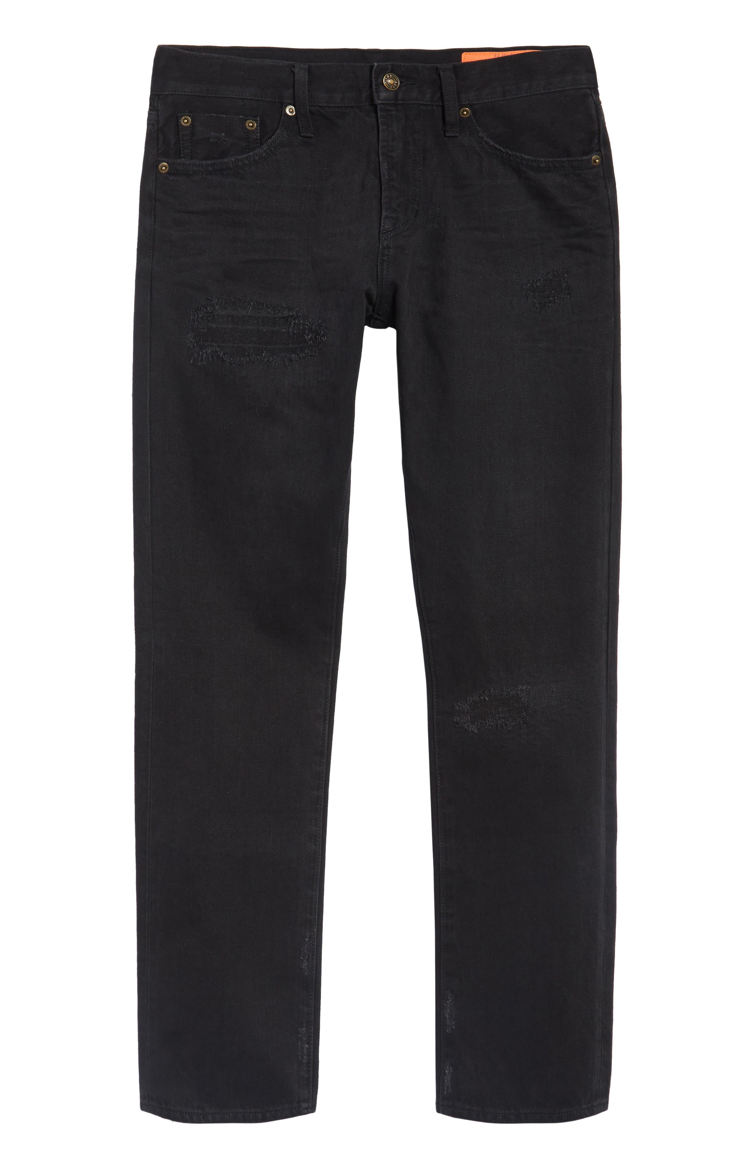 Straight Leg Selvedge Jeans,                             Alternate thumbnail 6, color,