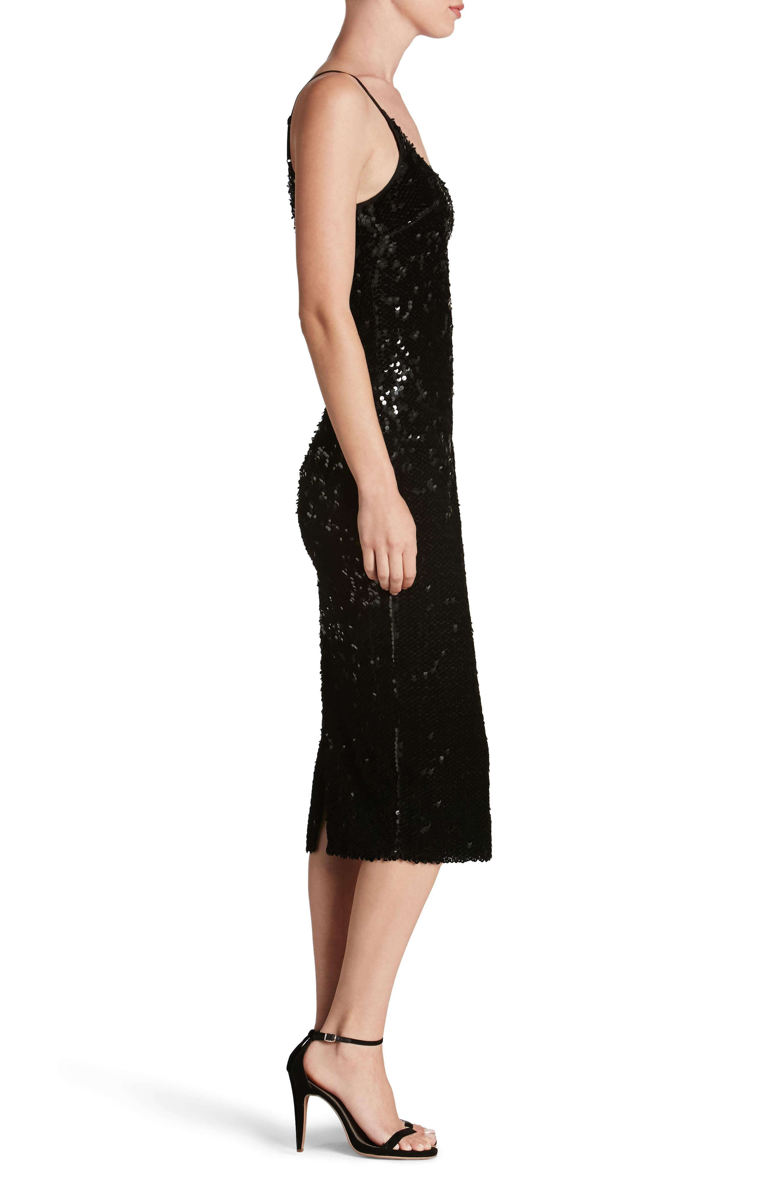 Nina Sequin Velvet Body-Con Dress,                             Alternate thumbnail 3, color,                             001