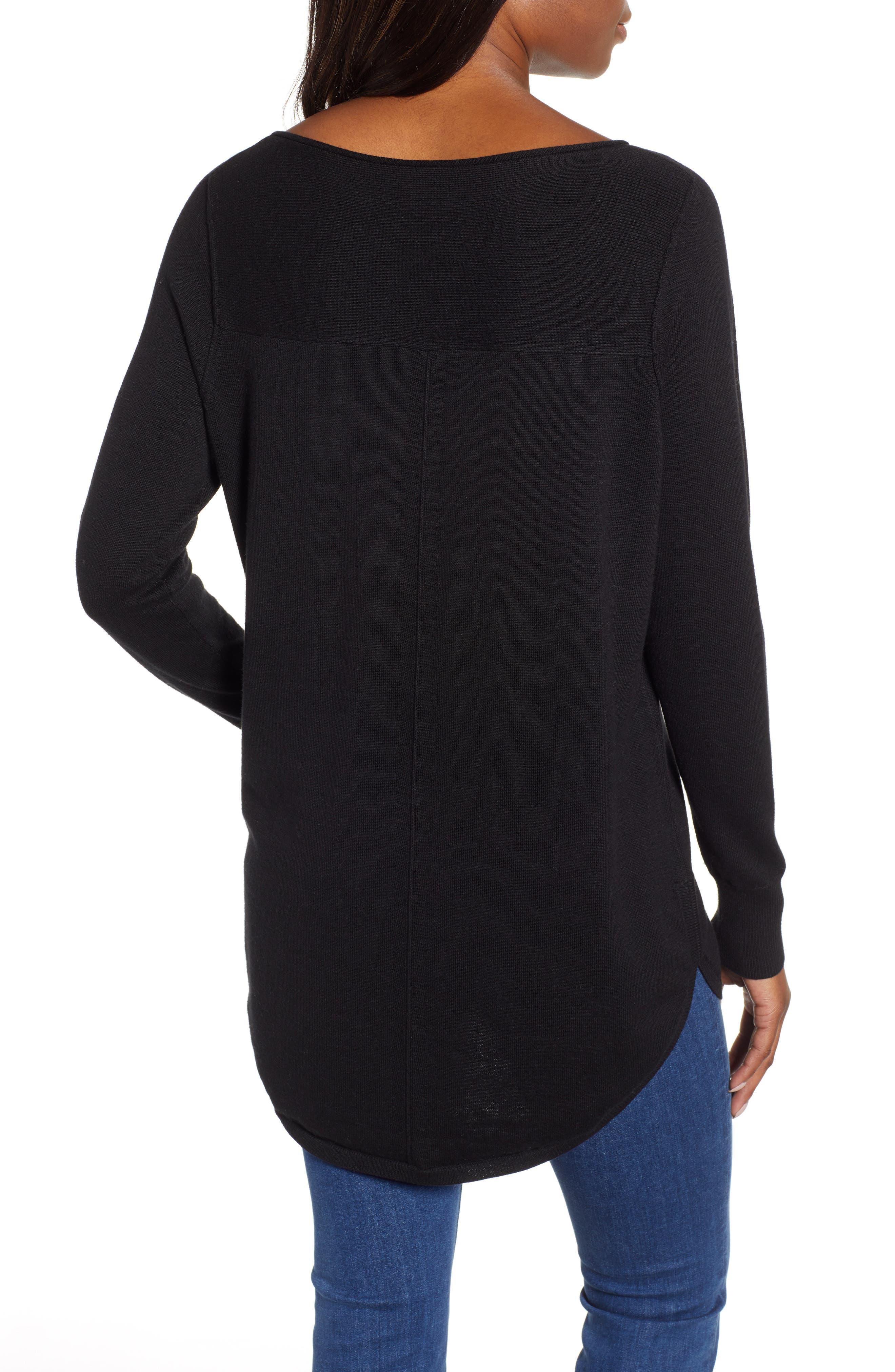 Seam Detail Shirttail Tunic,                             Alternate thumbnail 2, color,                             BLACK