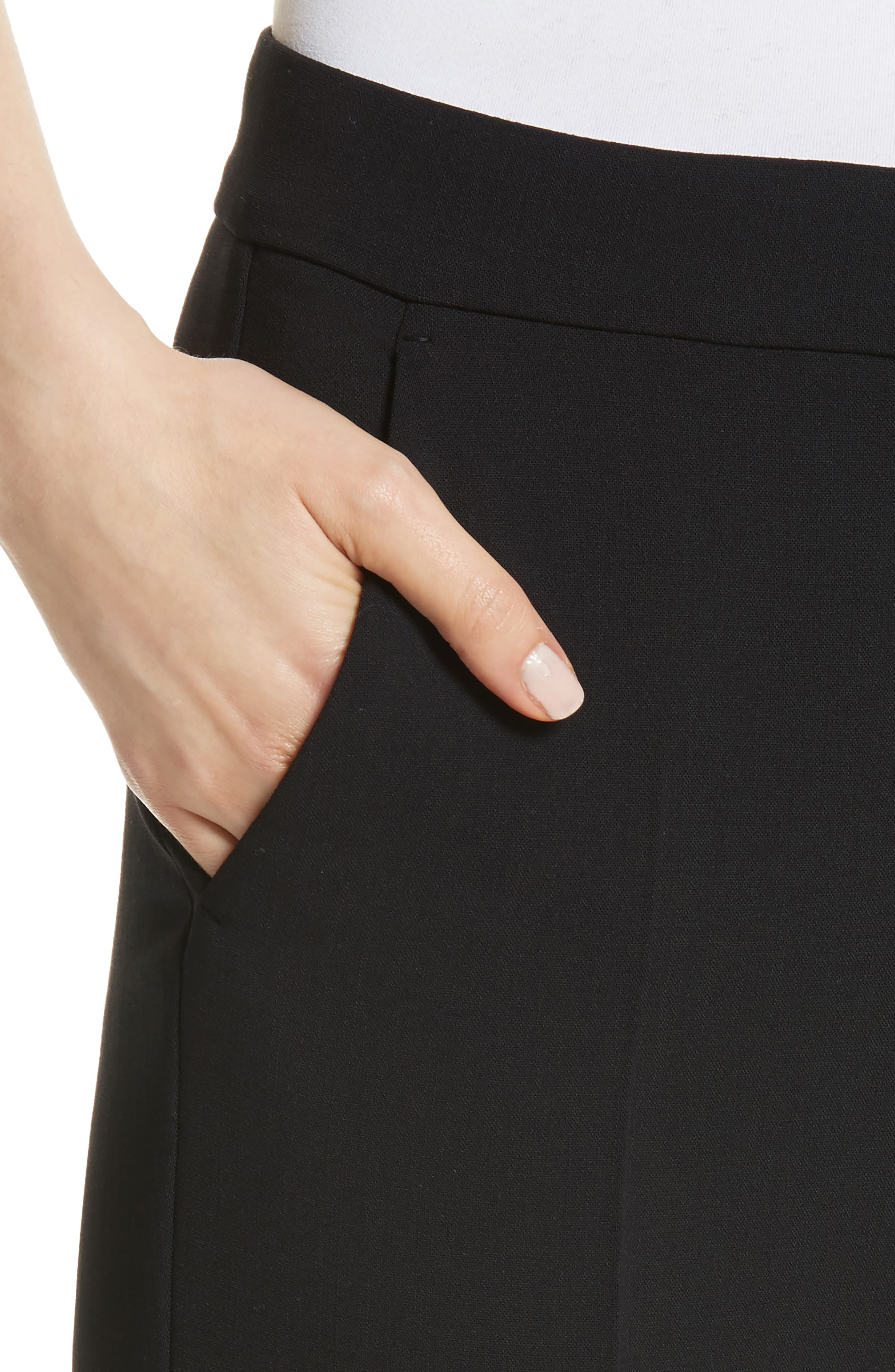 Cagli Stretch Wool Crop Pants,                             Alternate thumbnail 4, color,                             001