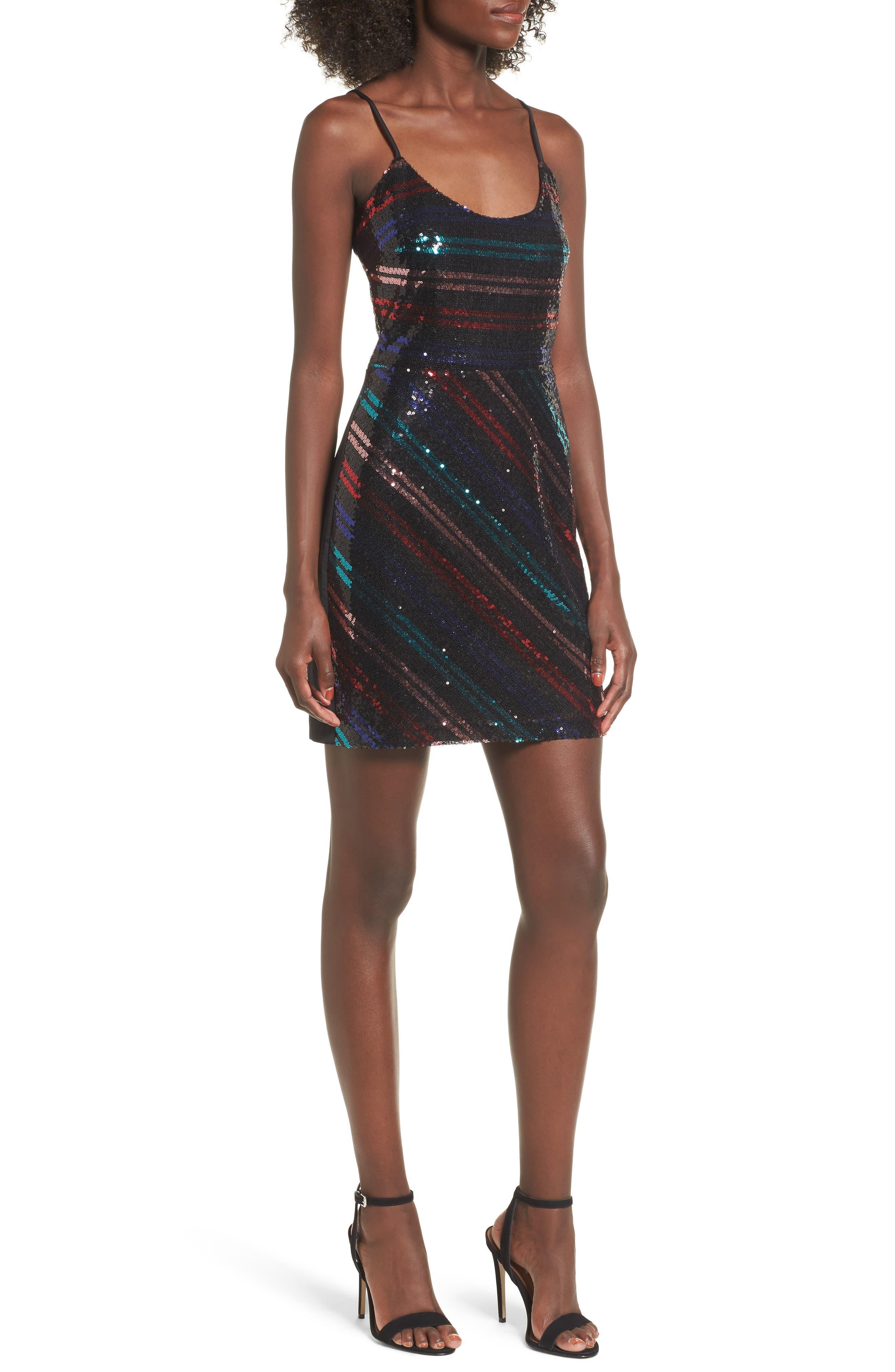 Randi Sequin Front Slip Dress,                             Main thumbnail 1, color,                             001