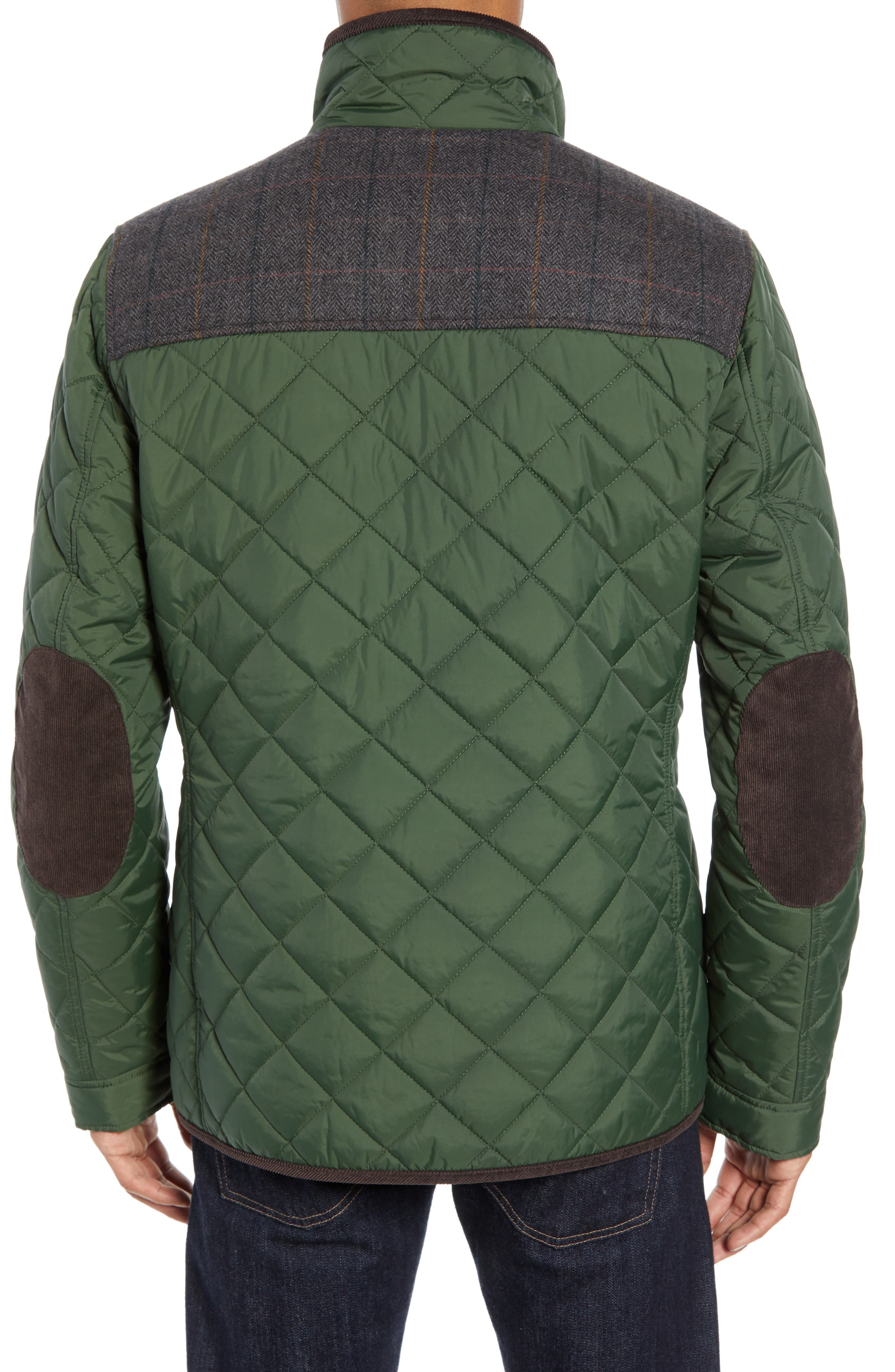 Diamond Quilted Full Zip Jacket,                             Alternate thumbnail 2, color,                             OLIVE