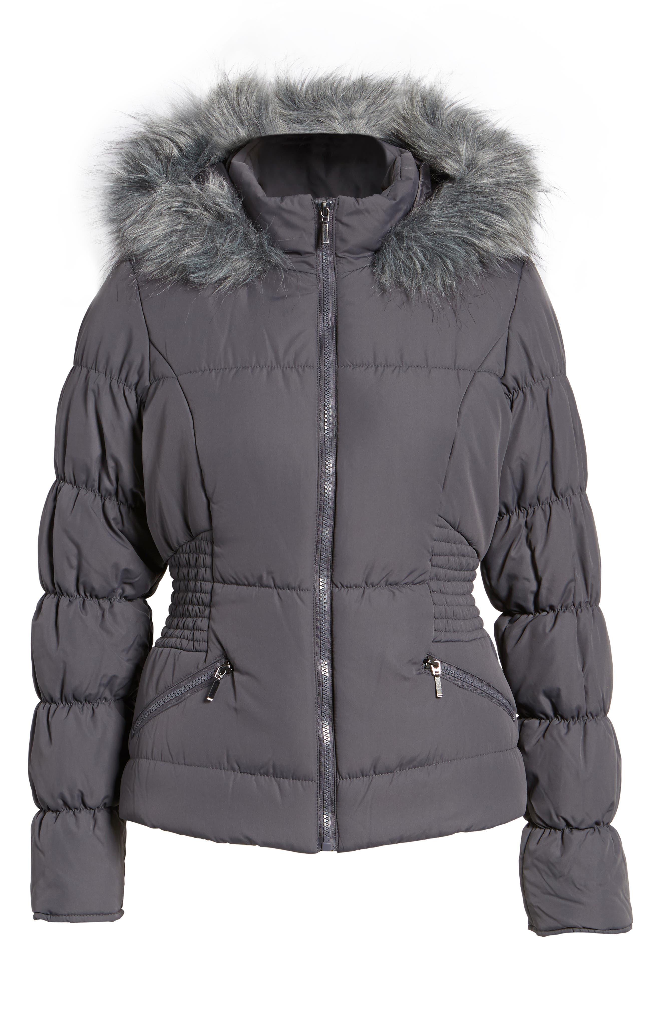 Faux Fur Trim Puffer Coat,                             Alternate thumbnail 5, color,                             036