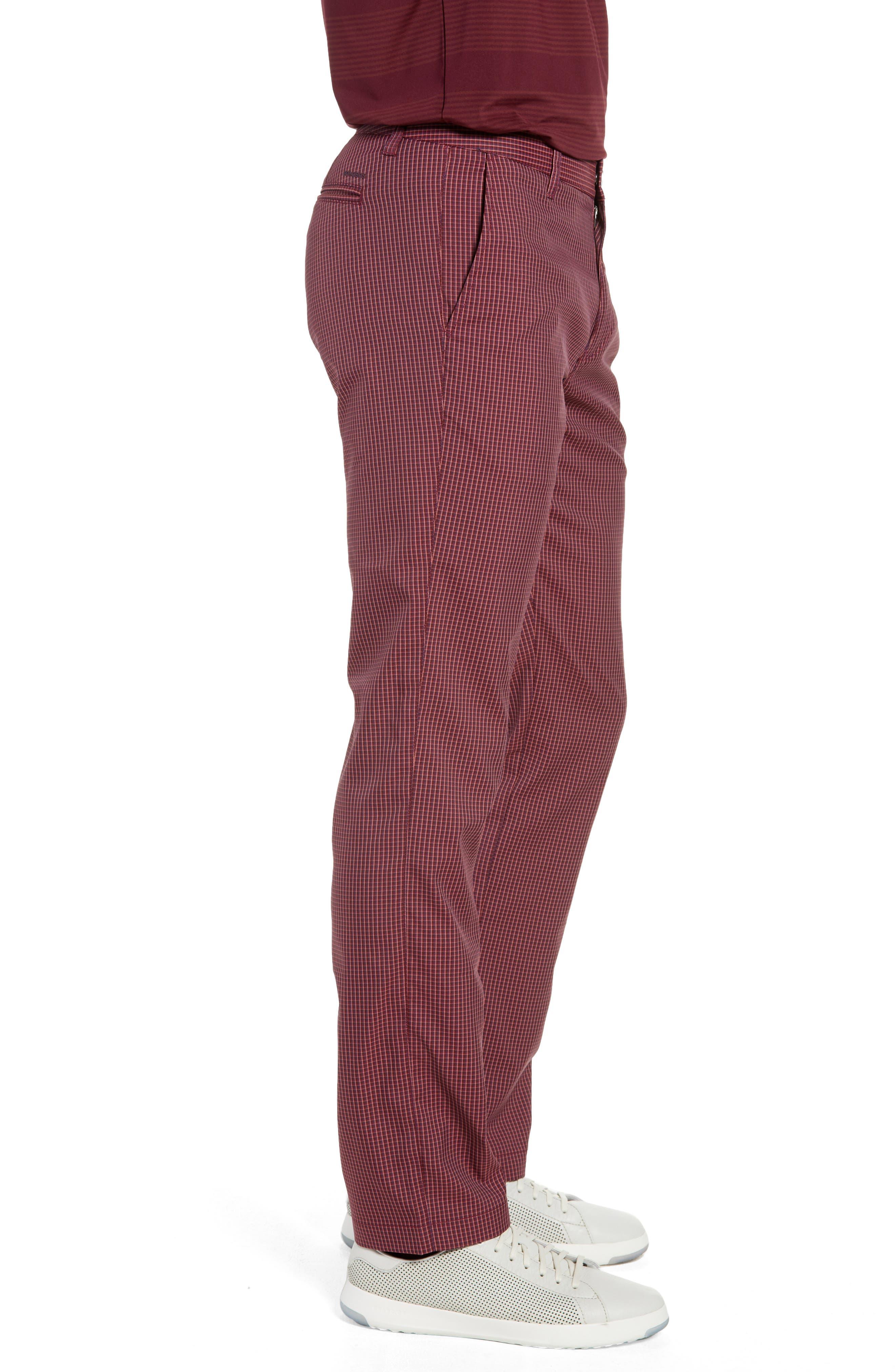 Highland Slim Fit Golf Pants,                             Alternate thumbnail 3, color,                             RED PLAID