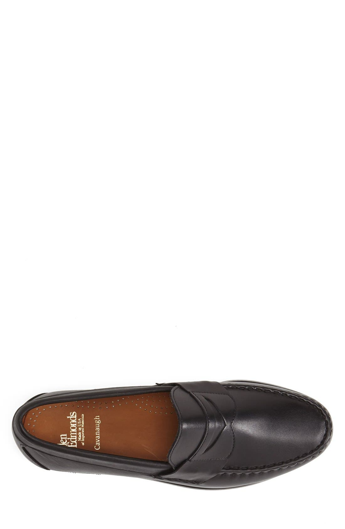 'Cavanaugh' Penny Loafer,                             Alternate thumbnail 4, color,                             BLACK LEATHER