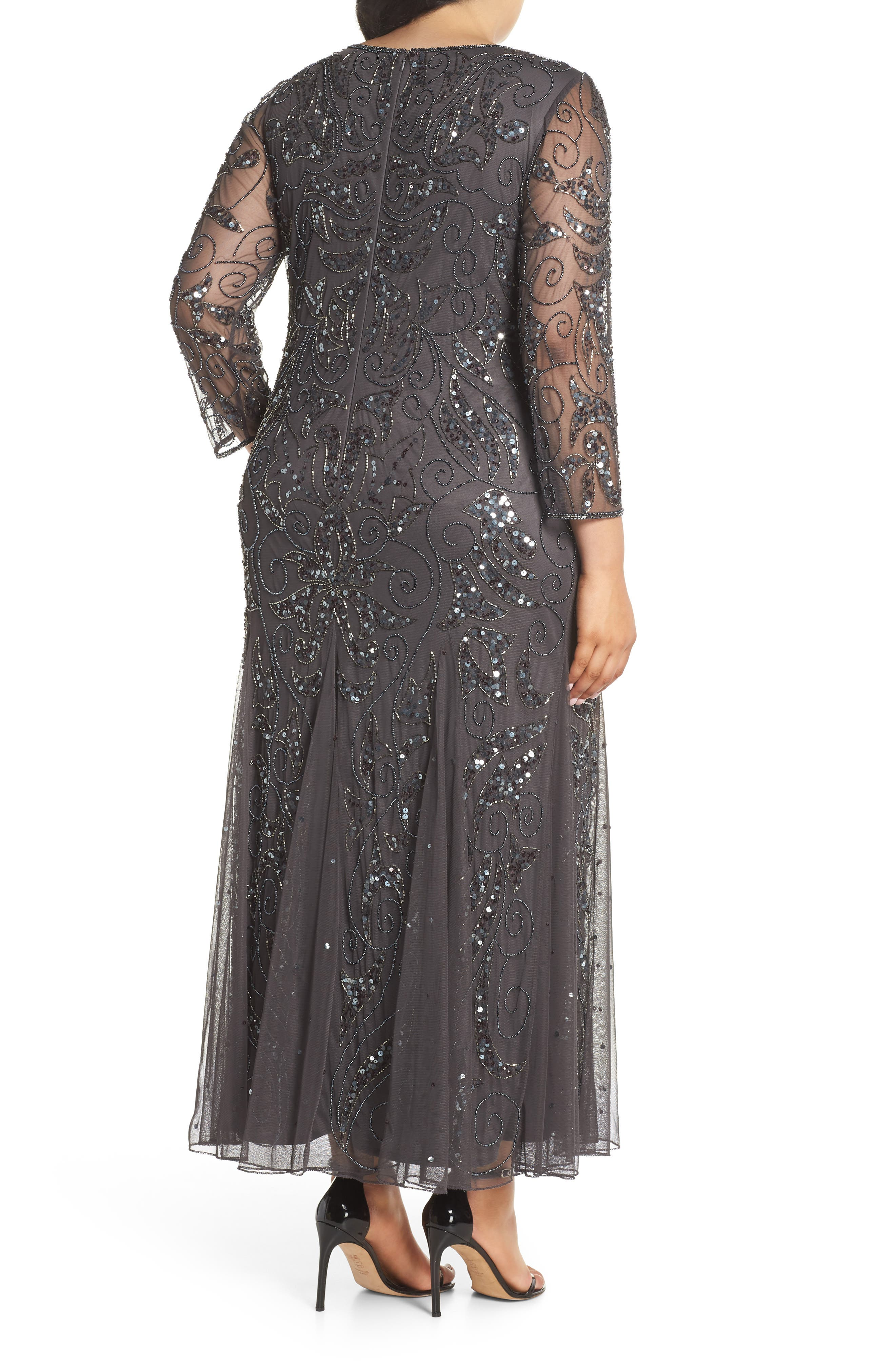 Embellished Three Quarter Sleeve Gown,                             Alternate thumbnail 2, color,                             NEW ASH