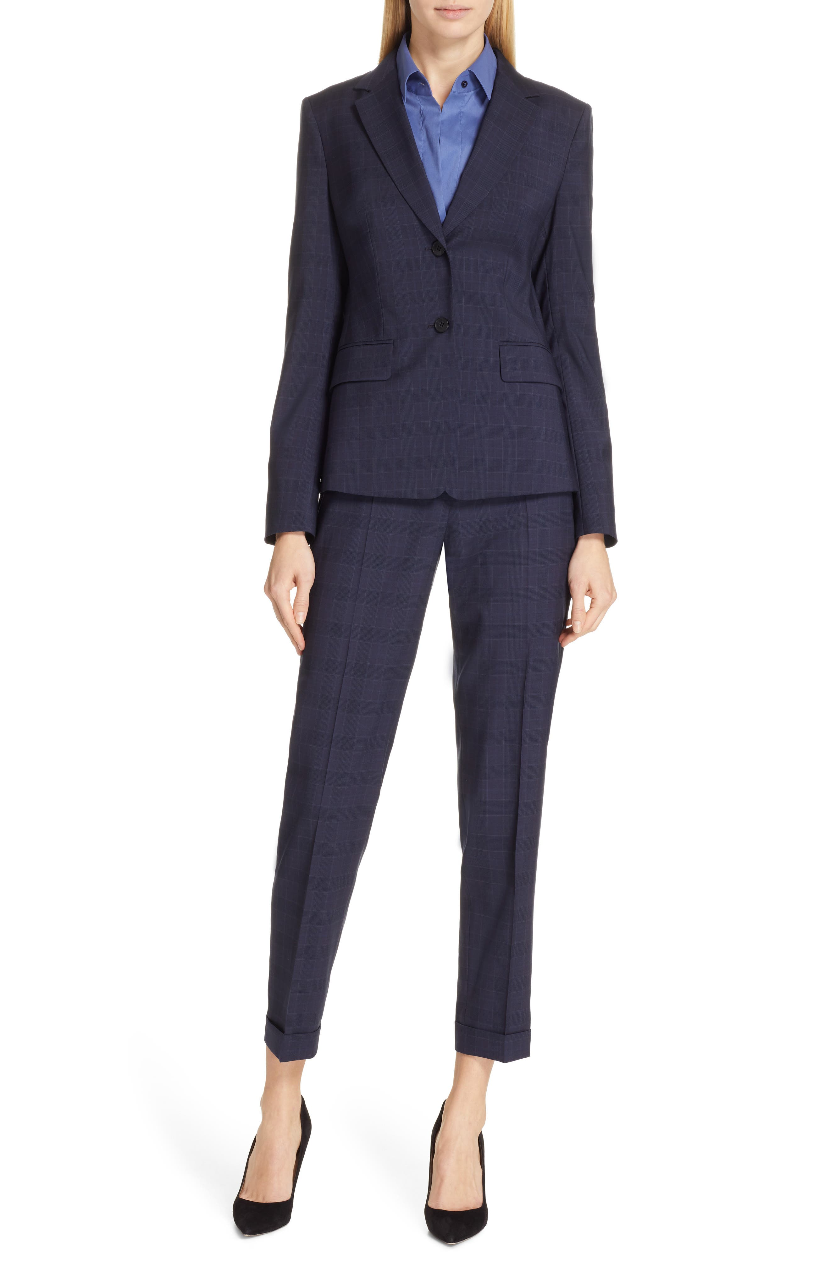 Tocanes Modern Check Wool Ankle Trousers,                             Alternate thumbnail 8, color,                             DARK NAVY FANTASY