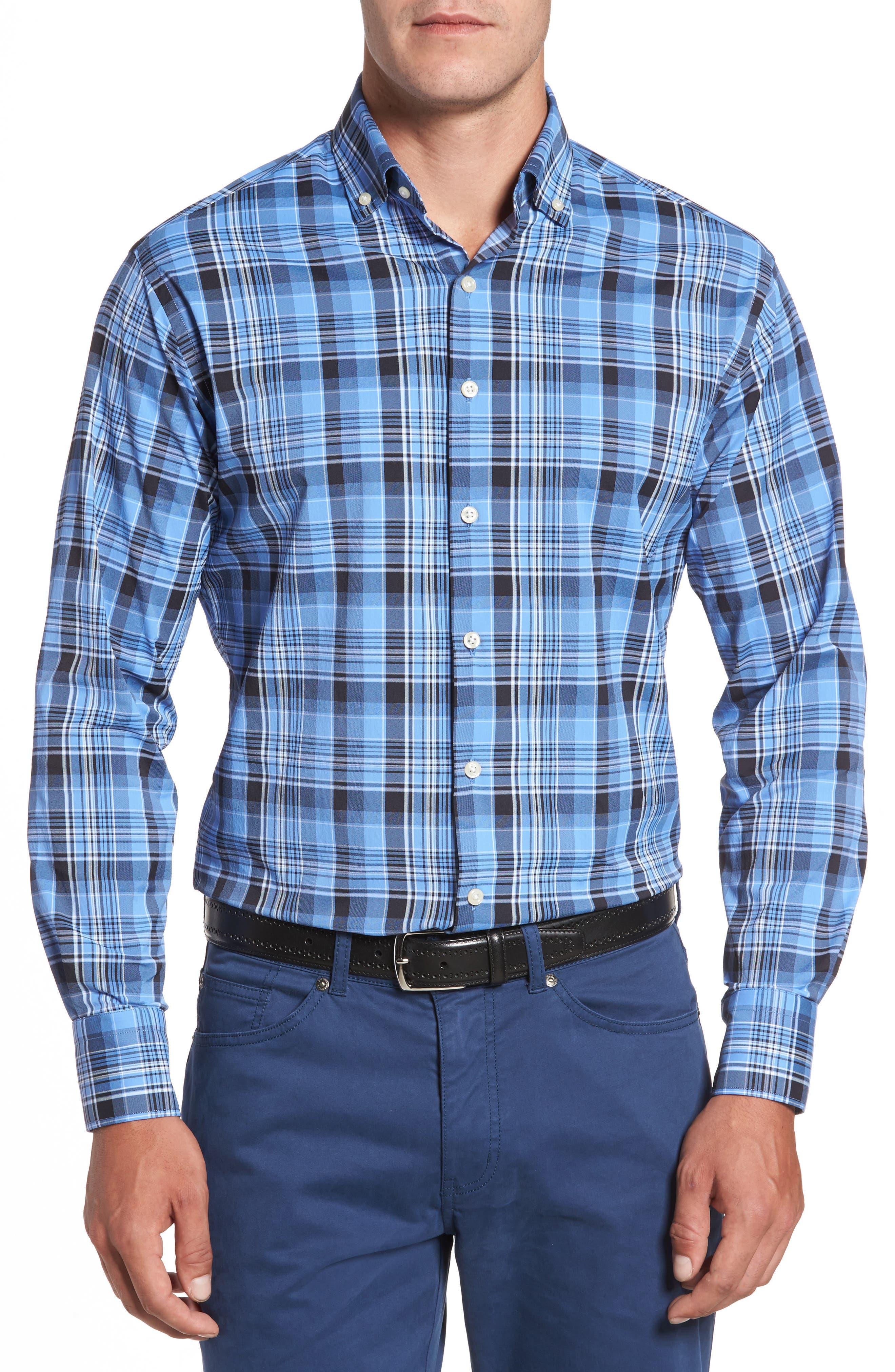 Pops Performance Plaid Sport Shirt,                         Main,                         color,