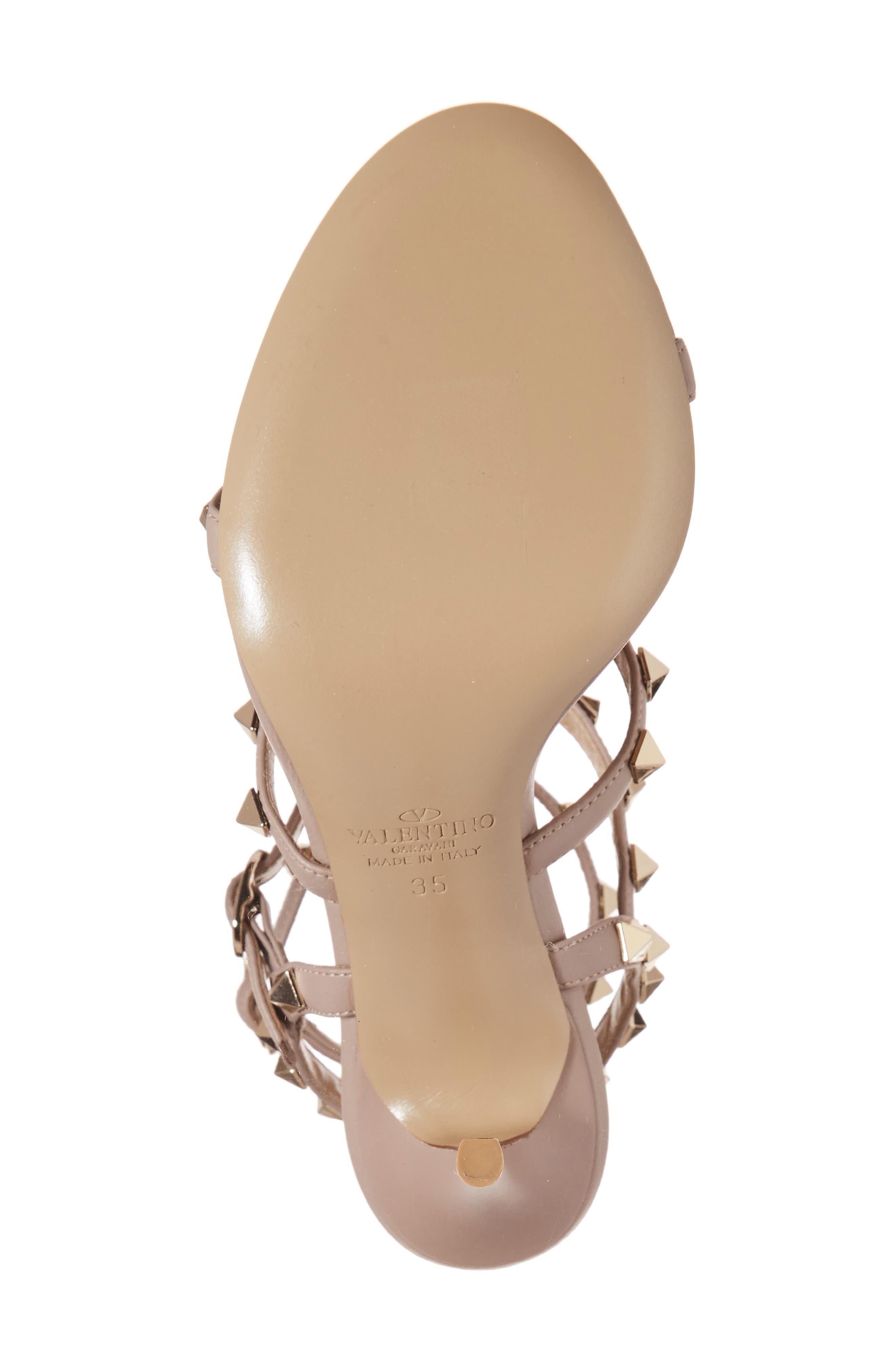 'Rockstud' Ankle Strap Sandal,                             Alternate thumbnail 6, color,                             BEIGE
