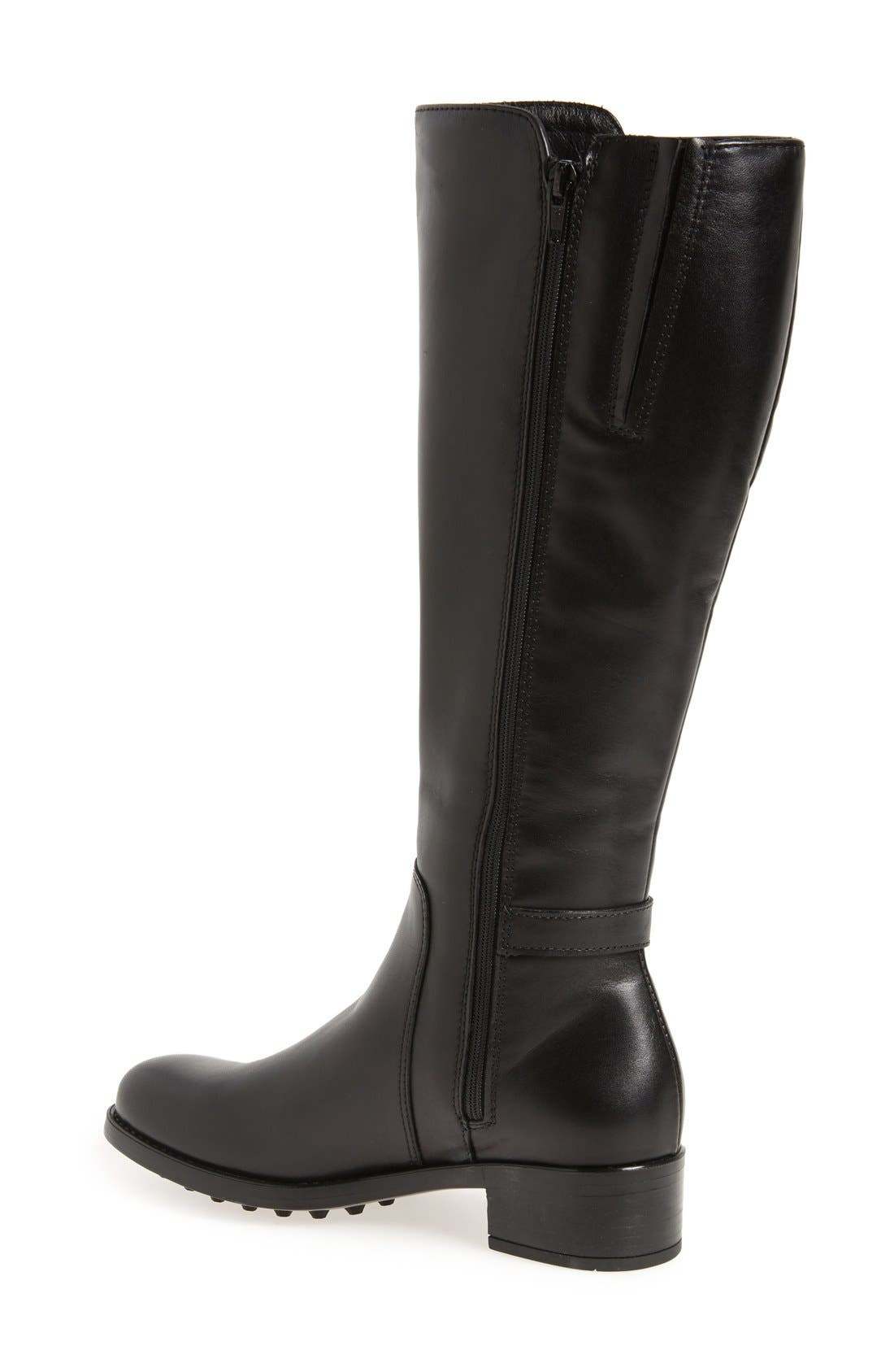 Silvana Waterproof Riding Boot,                             Alternate thumbnail 2, color,                             BLACK LEATHER