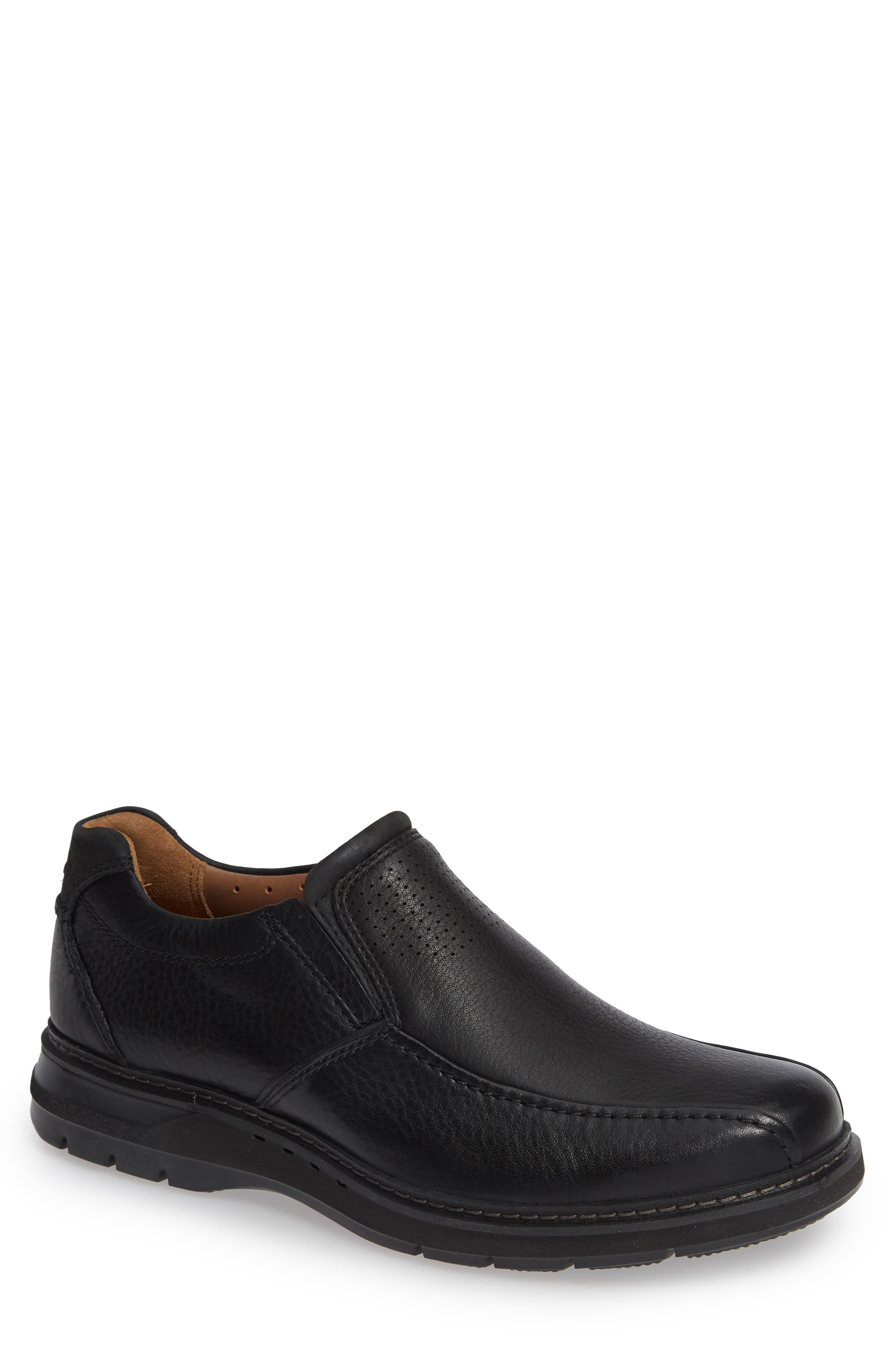 Un Ramble Step Venetian Loafer,                             Main thumbnail 1, color,                             BLACK LEATHER