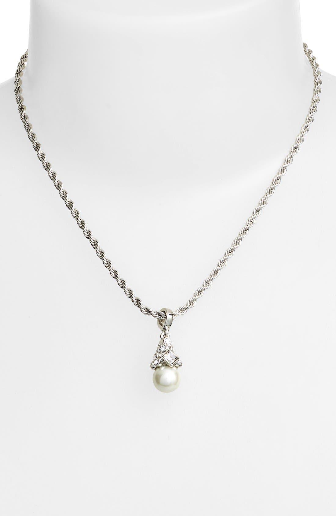 Imitation Pearl Pendant Necklace,                             Alternate thumbnail 2, color,                             SILVER