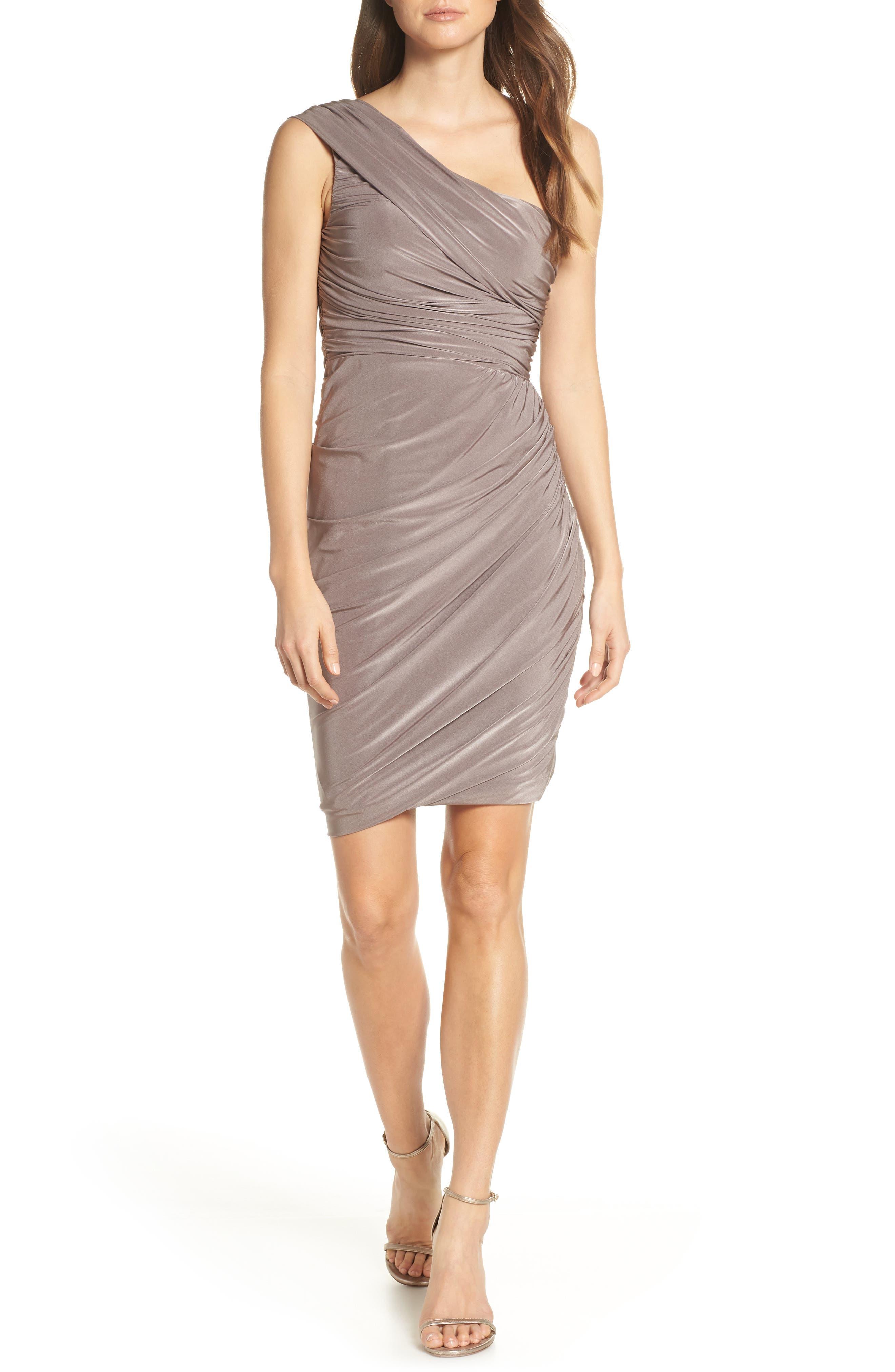 Eliza J Ruched One-Shoulder Dress, Beige