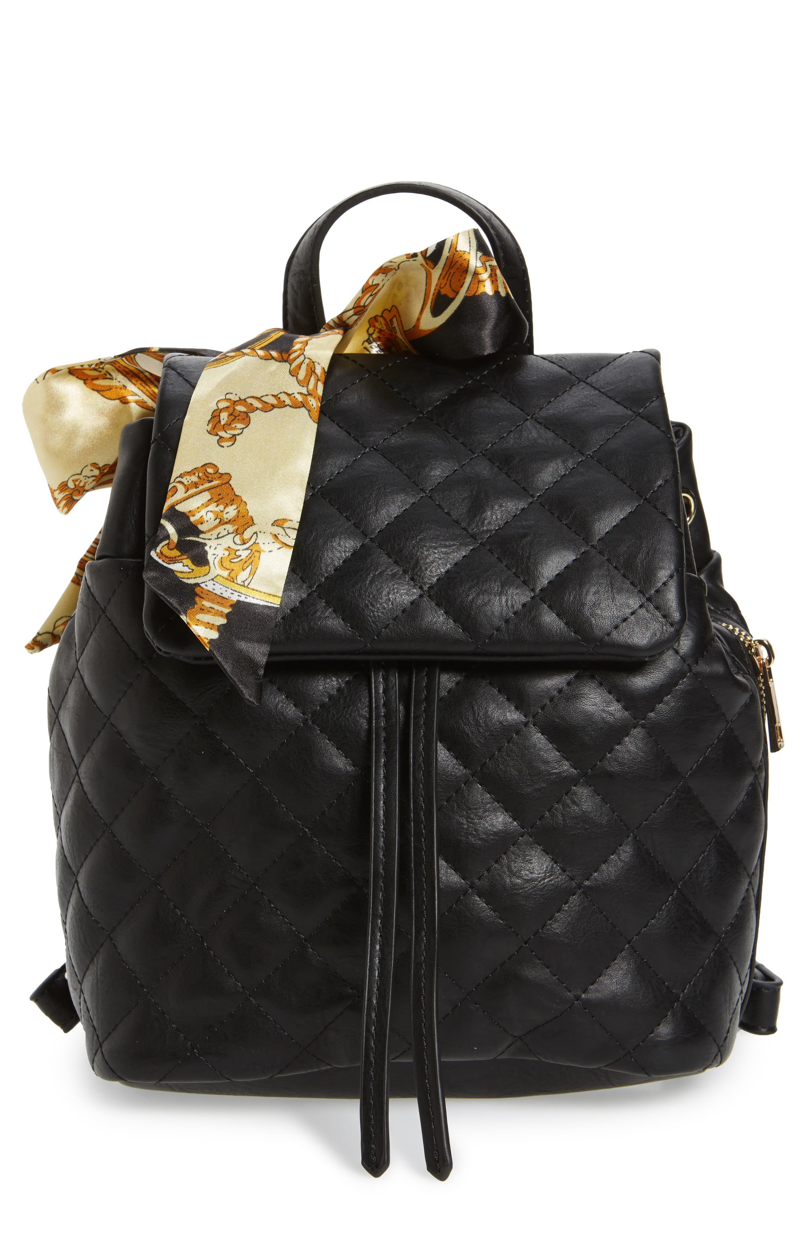 Quilted Faux Leather Backpack, Main, color, 001