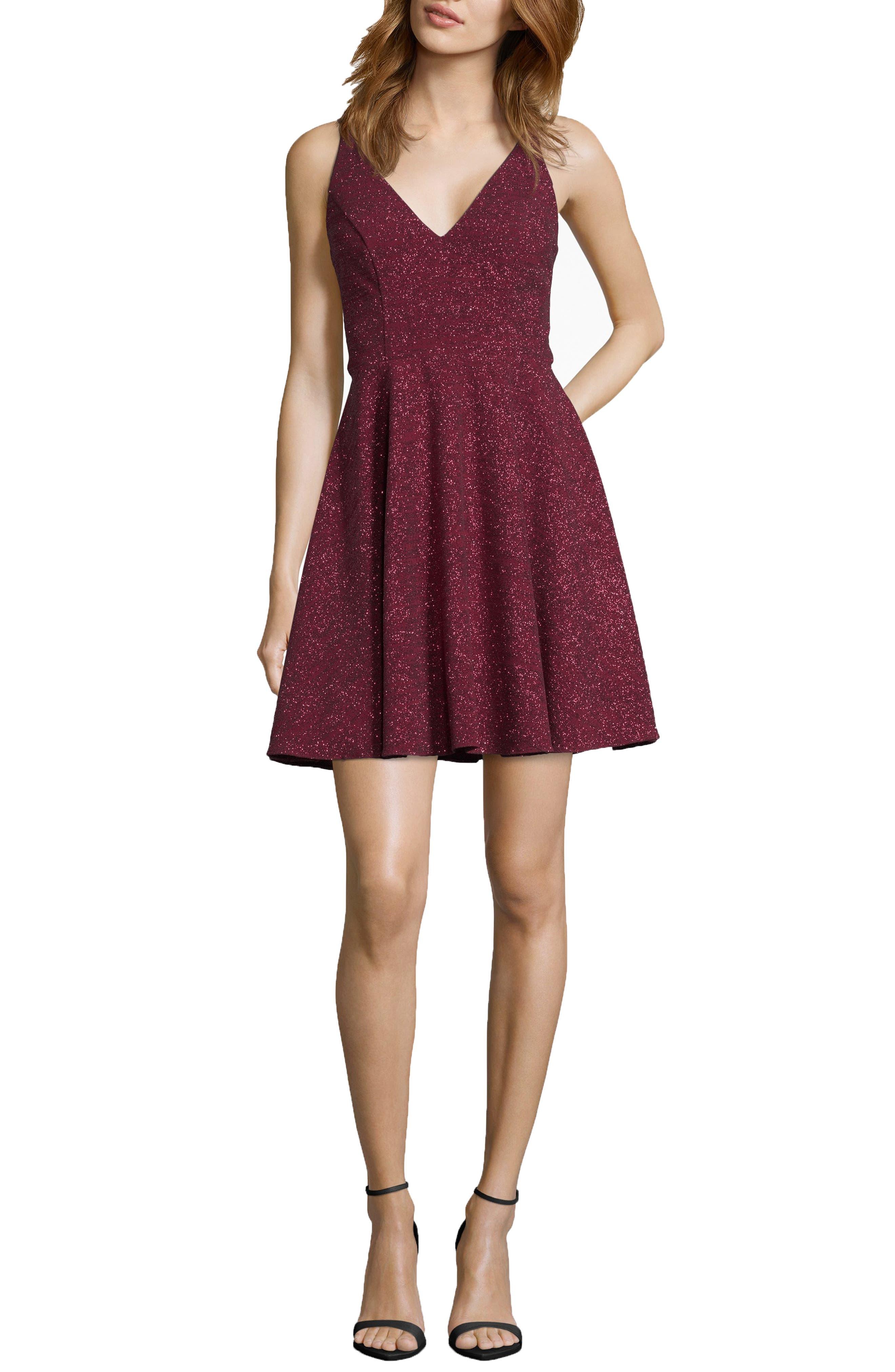 Xscape Glitter V-Neck Party Dress, Burgundy