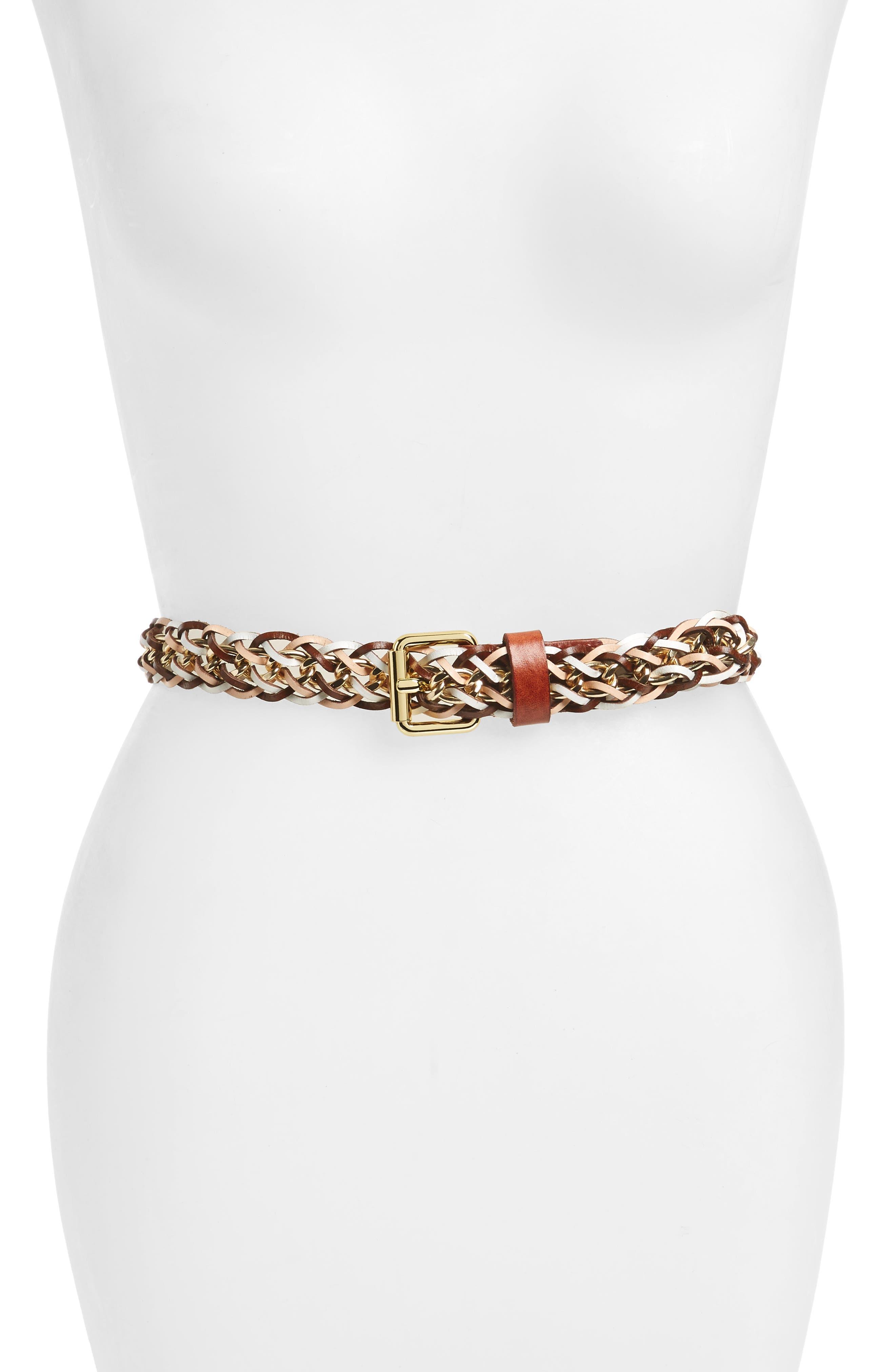 Leather & Chain Belt,                             Main thumbnail 2, color,