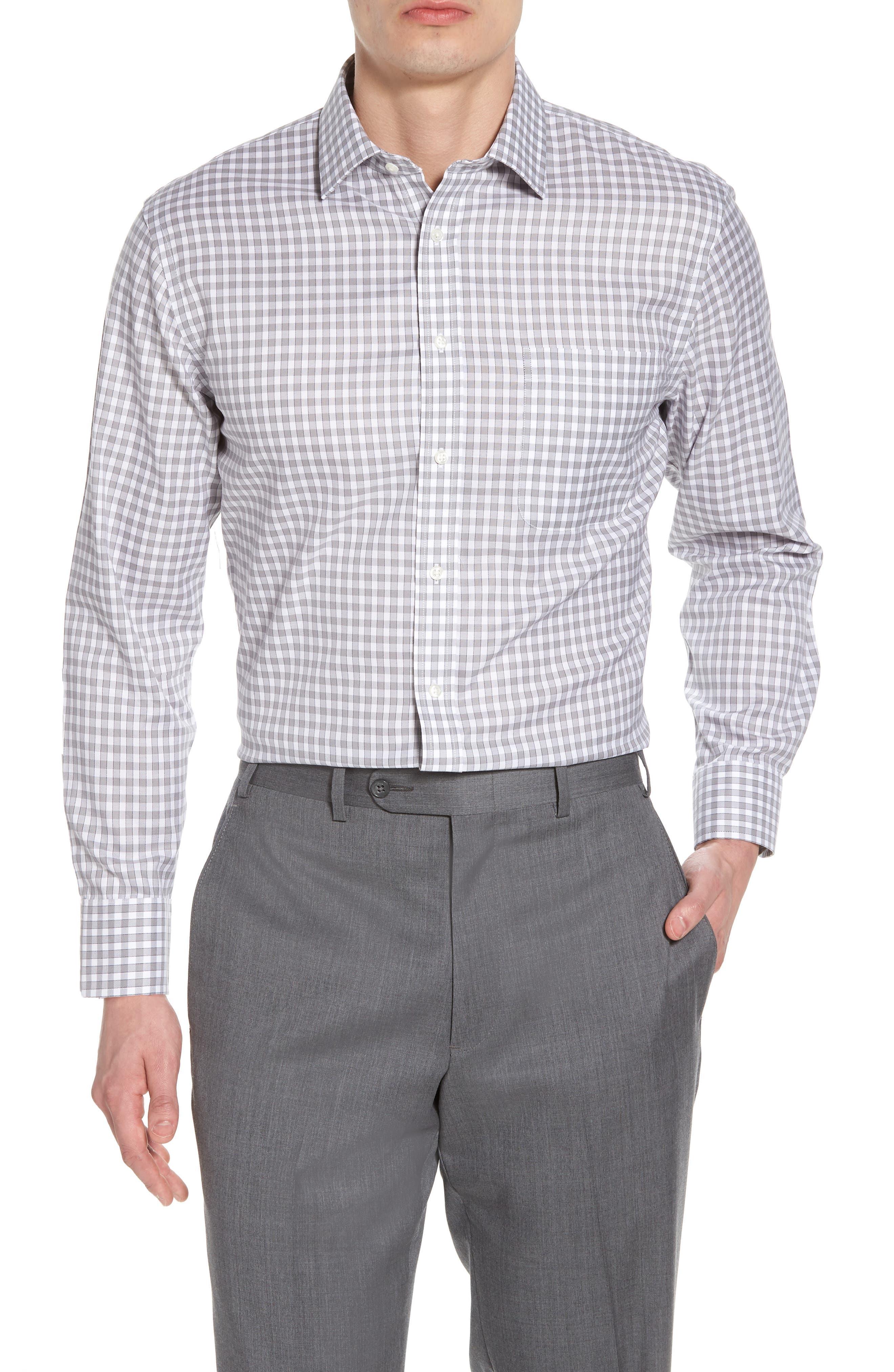 Smartcare<sup>™</sup> Trim Fit Check Dress Shirt,                         Main,                         color, 050