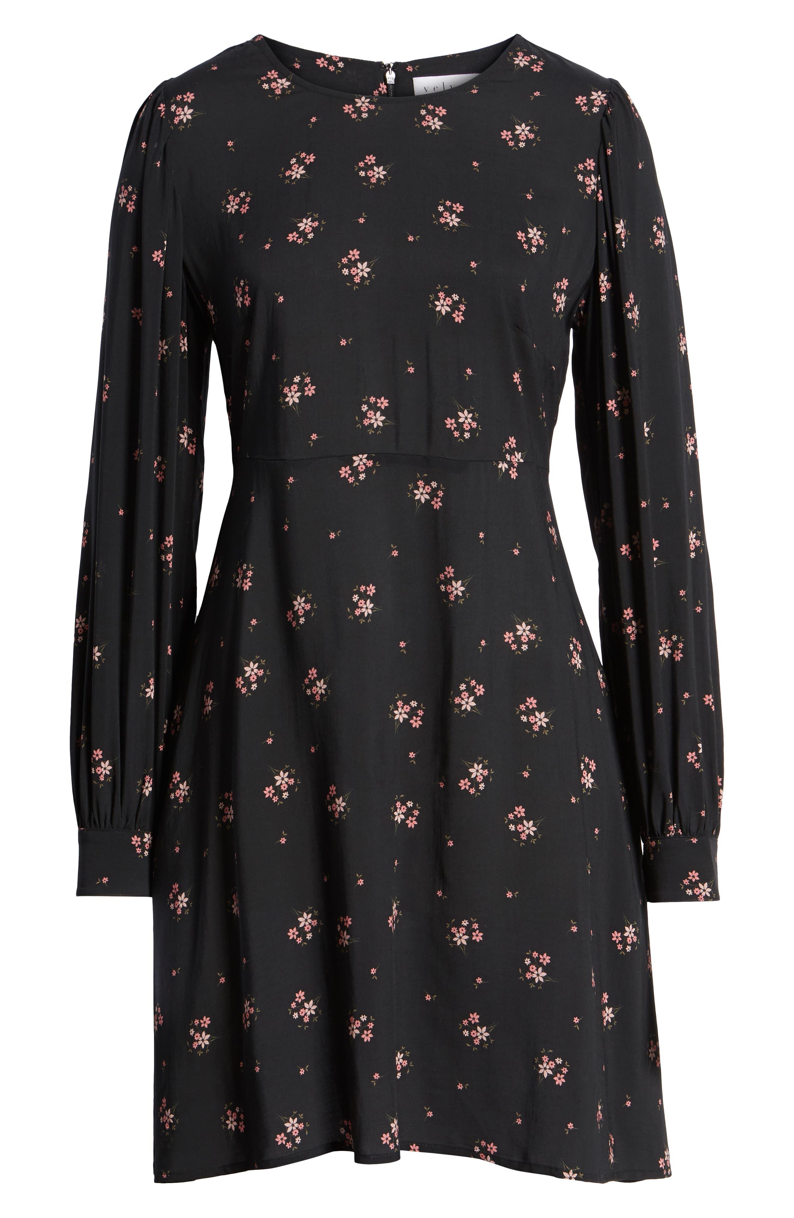 Floral Blouson Sleeve Dress,                             Alternate thumbnail 7, color,                             CAMELLIA