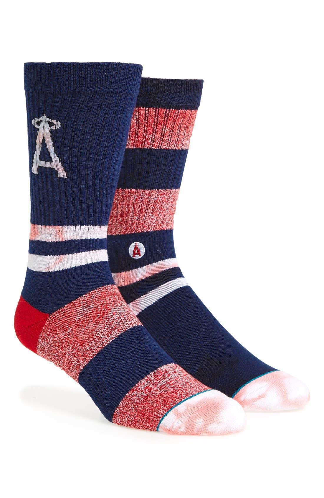 MLB Tye Dye Summer League Angels Crew Socks,                         Main,                         color, 410