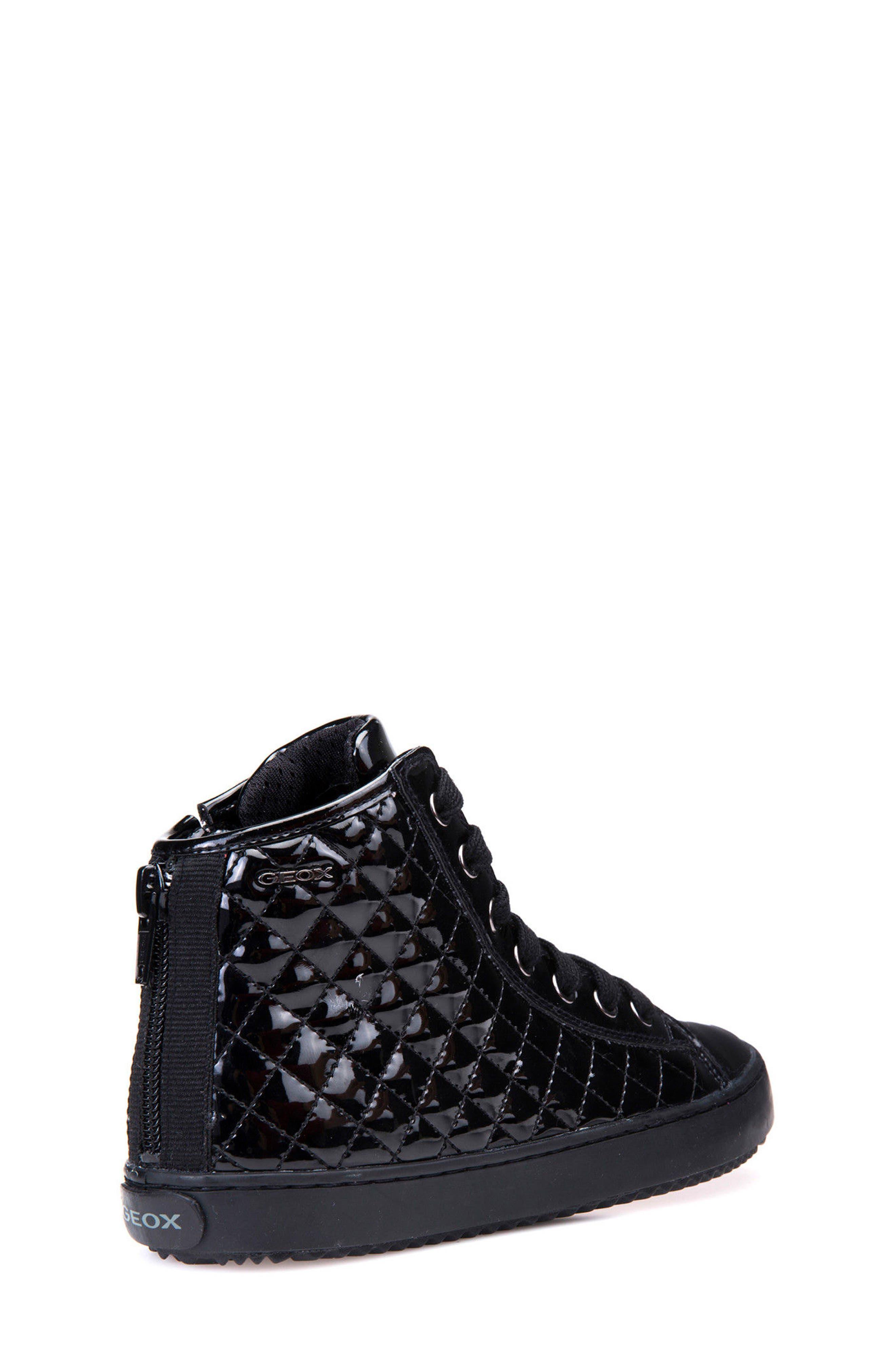 Kalispera Girl Quilted High-Top Sneaker,                             Alternate thumbnail 2, color,                             BLACK