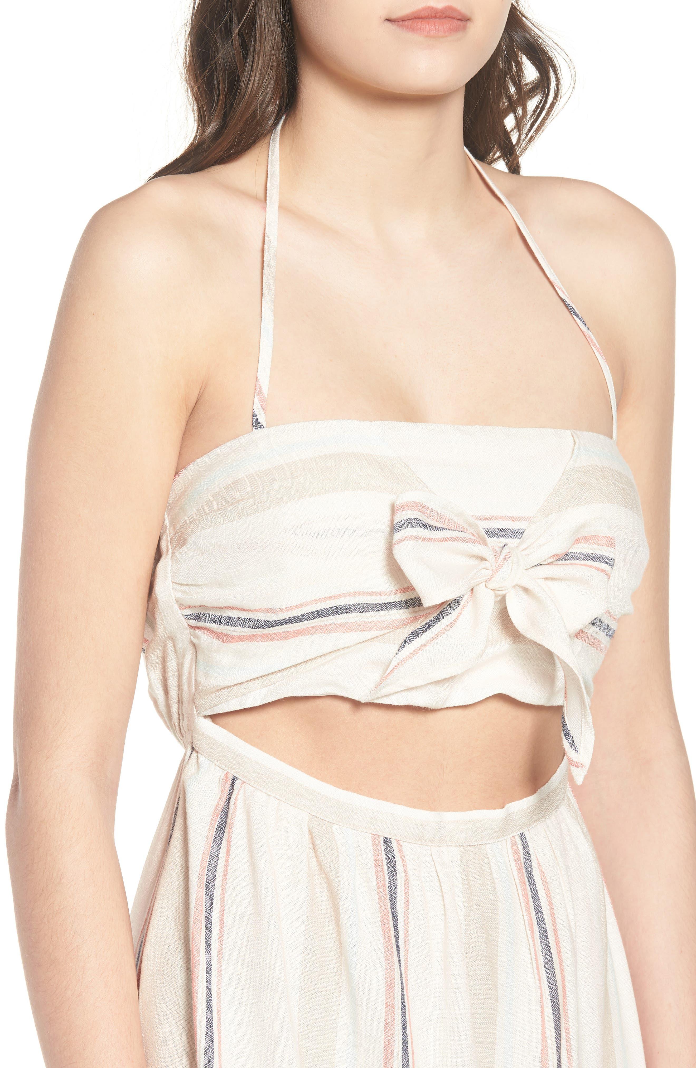 Tie Front Midi Dress,                             Alternate thumbnail 4, color,