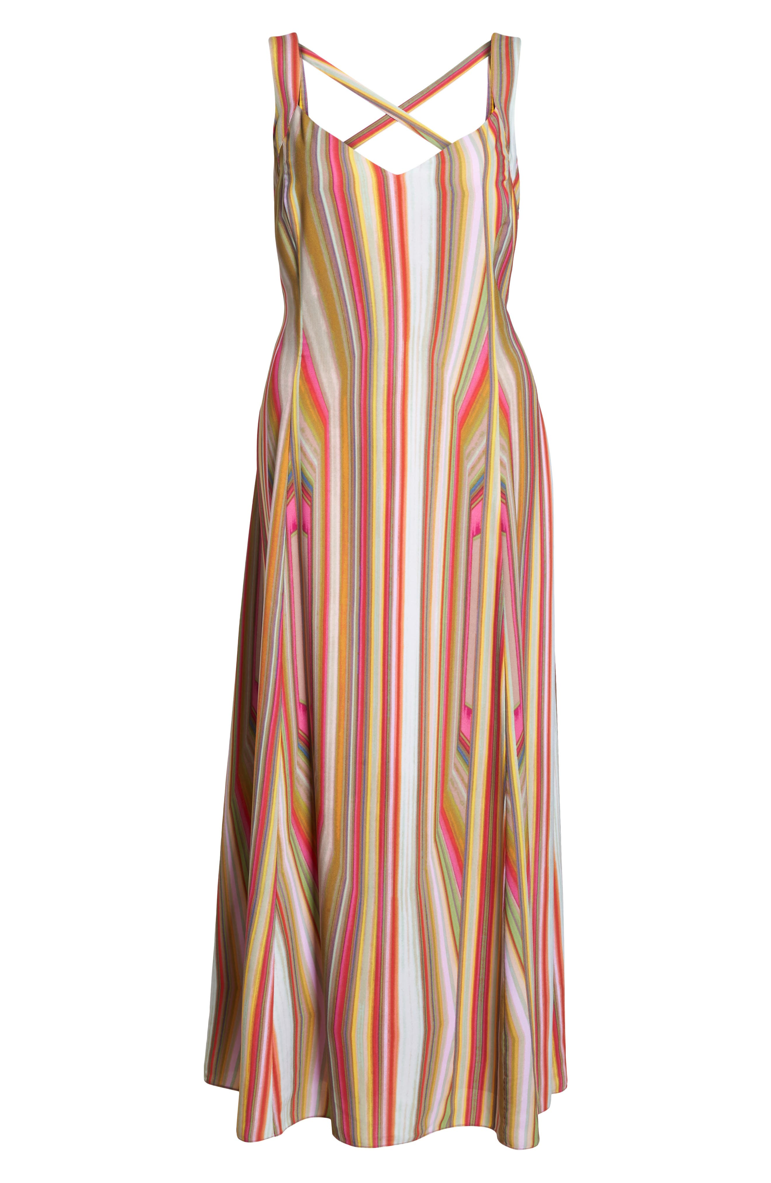 Stripe Strappy Maxi Dress,                             Alternate thumbnail 6, color,                             766