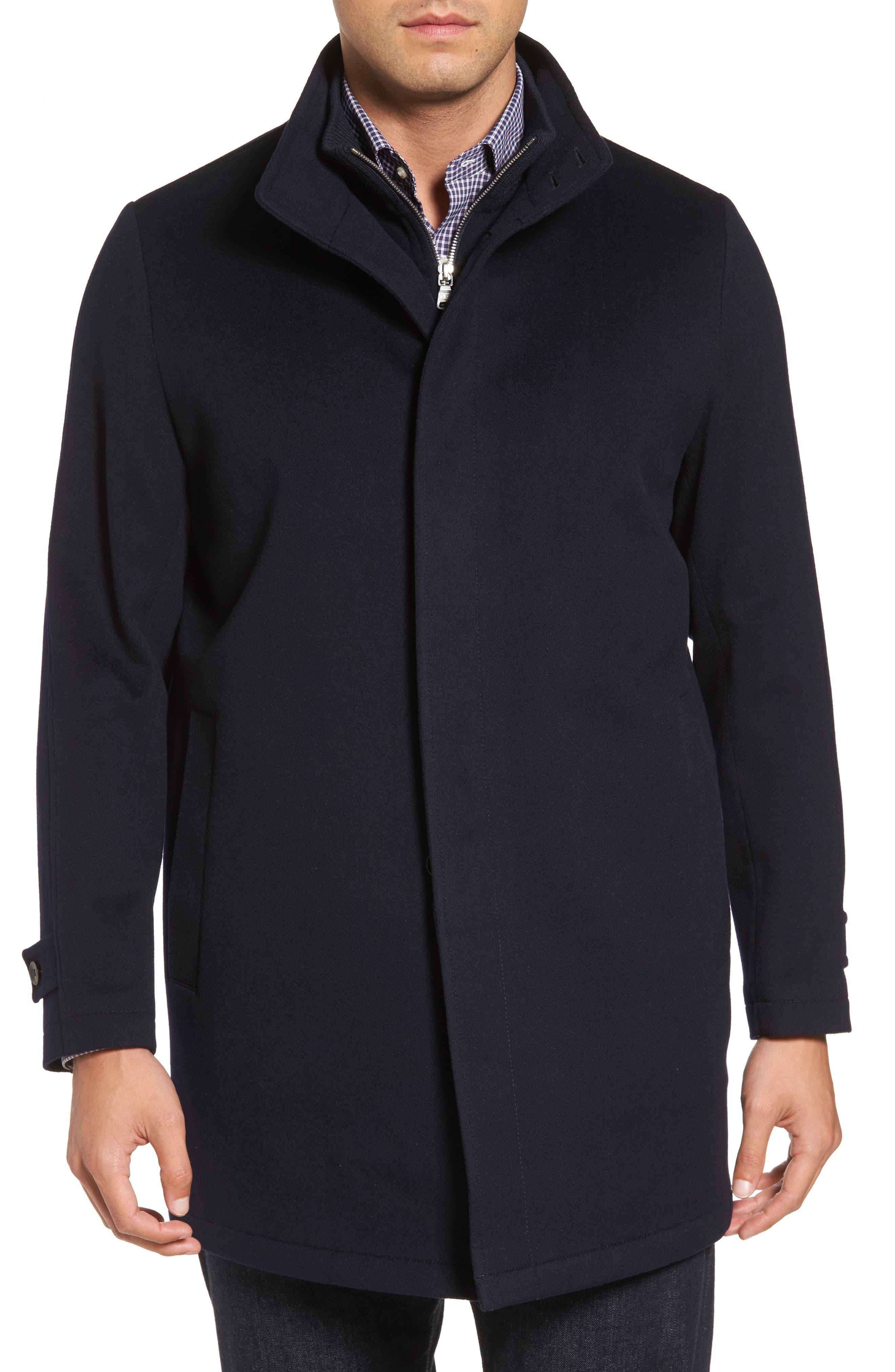 Peter Millar Horizon Wool Overcoat,                             Alternate thumbnail 4, color,                             001