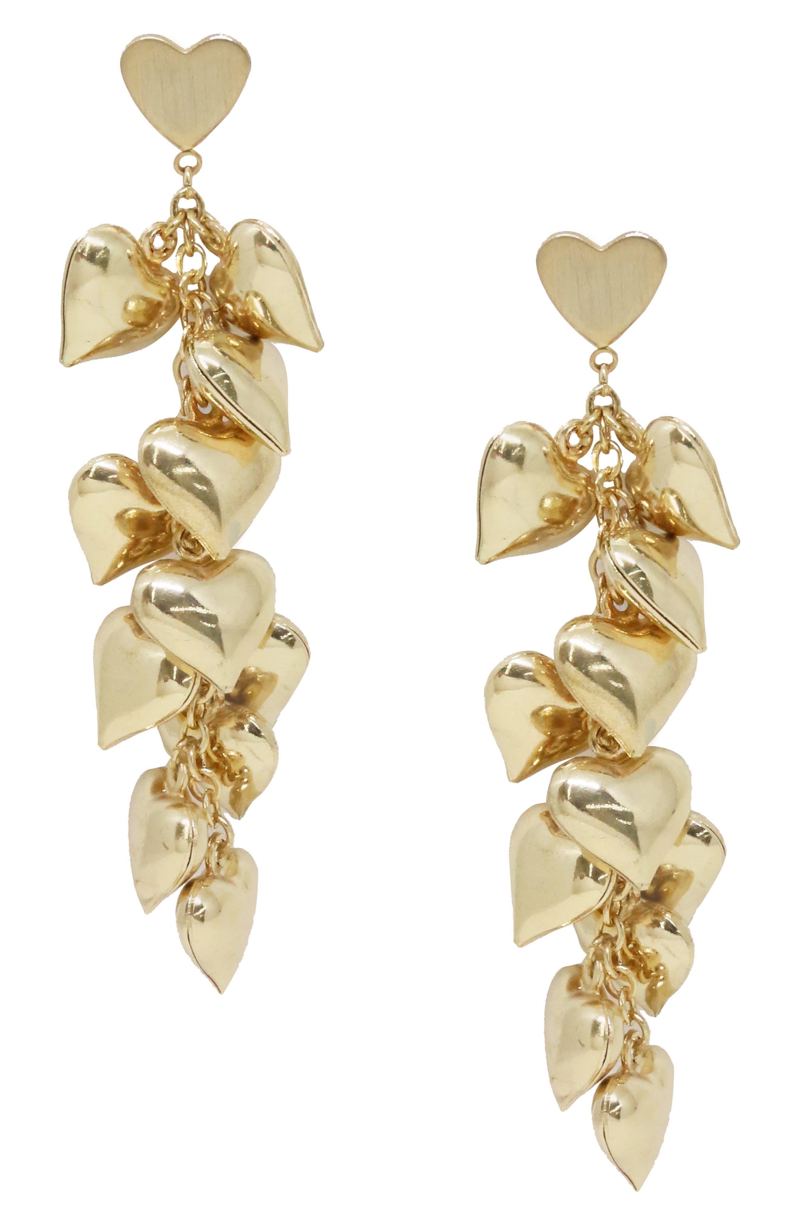 ETTIKA Heart Cluster Drop Earrings in Gold