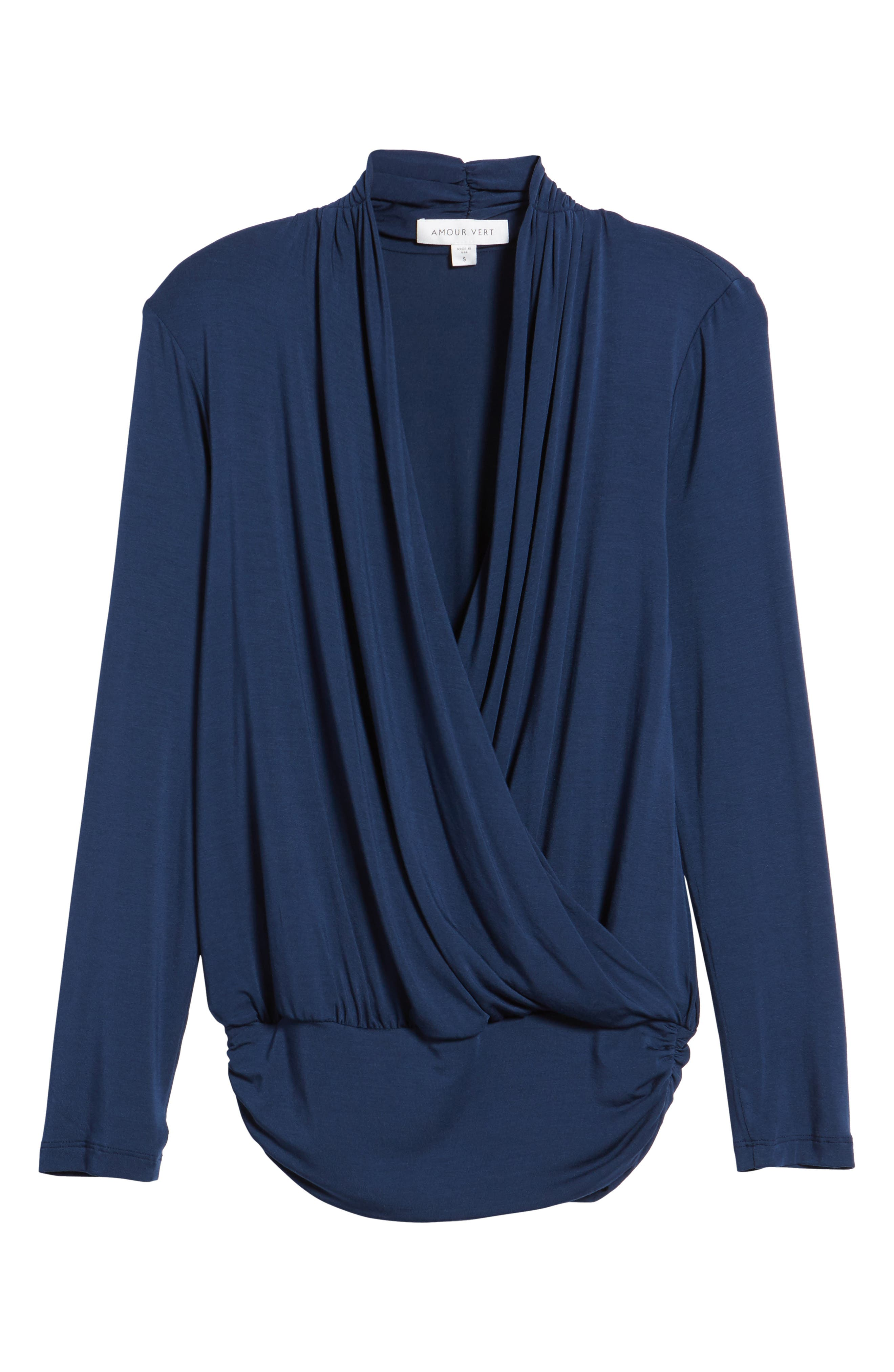 'Angela' Long Sleeve Wrap Front Top,                             Alternate thumbnail 6, color,                             450