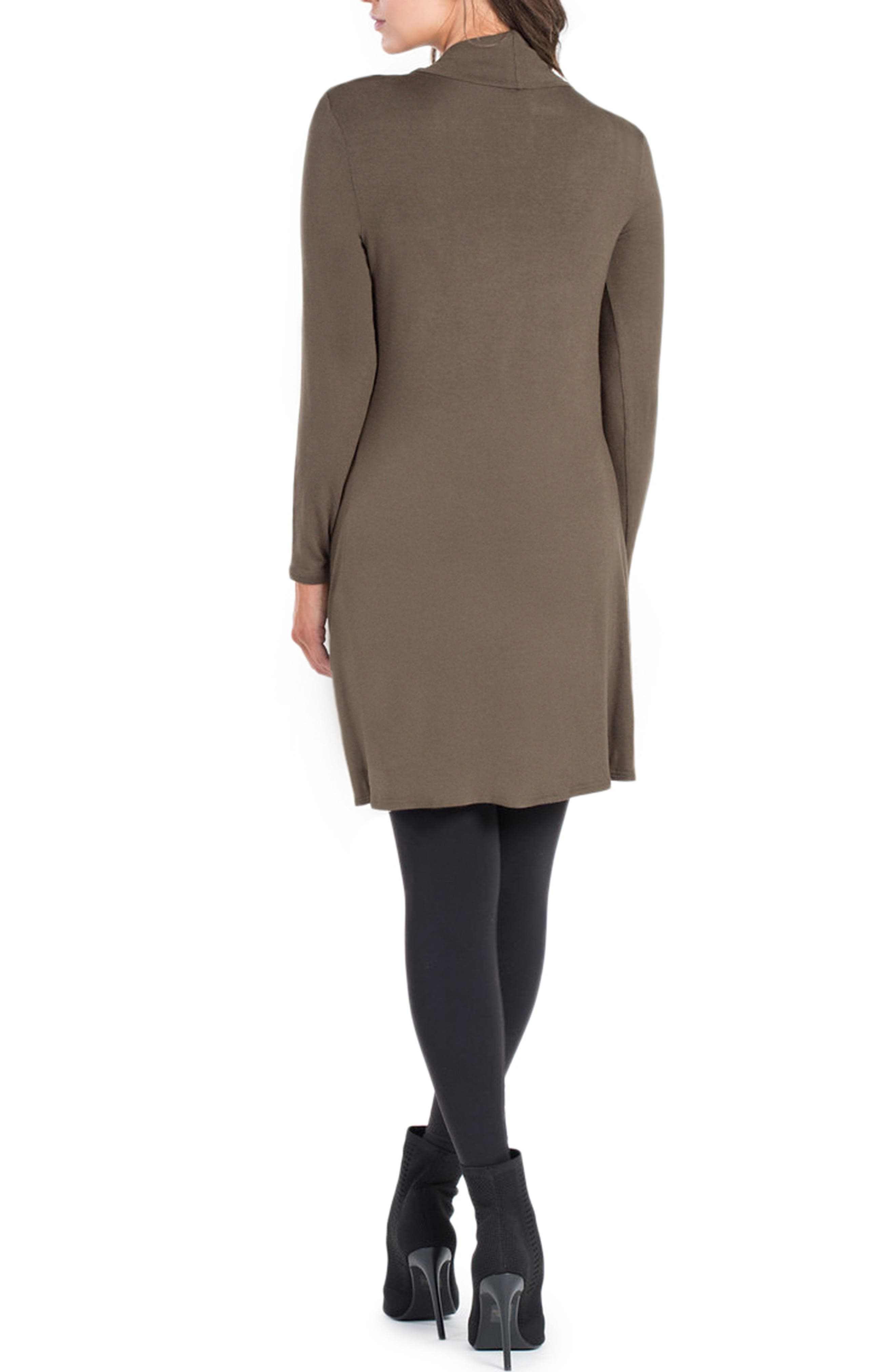Nara Crossover Maternity/Nursing Tunic with Camisole,                             Alternate thumbnail 2, color,                             DARK OLIVE/ BLACK CAMI