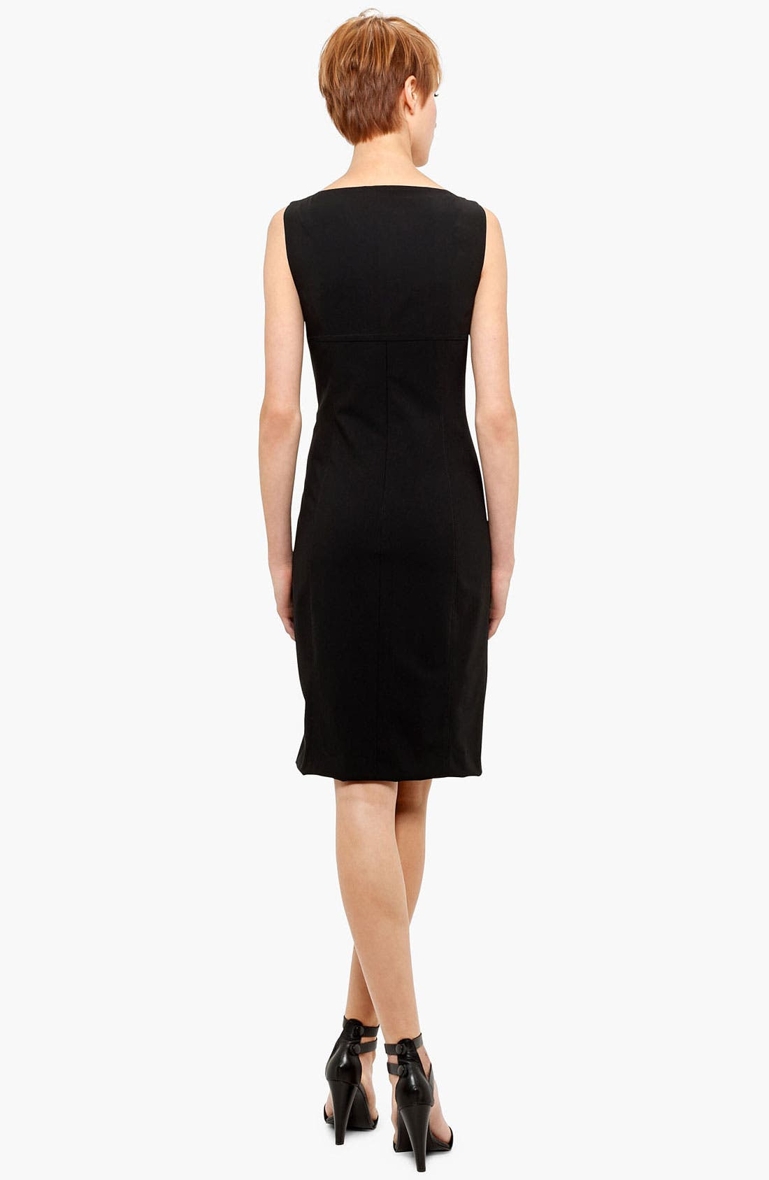 Belted Zip Front Wool Dress,                             Alternate thumbnail 7, color,                             001