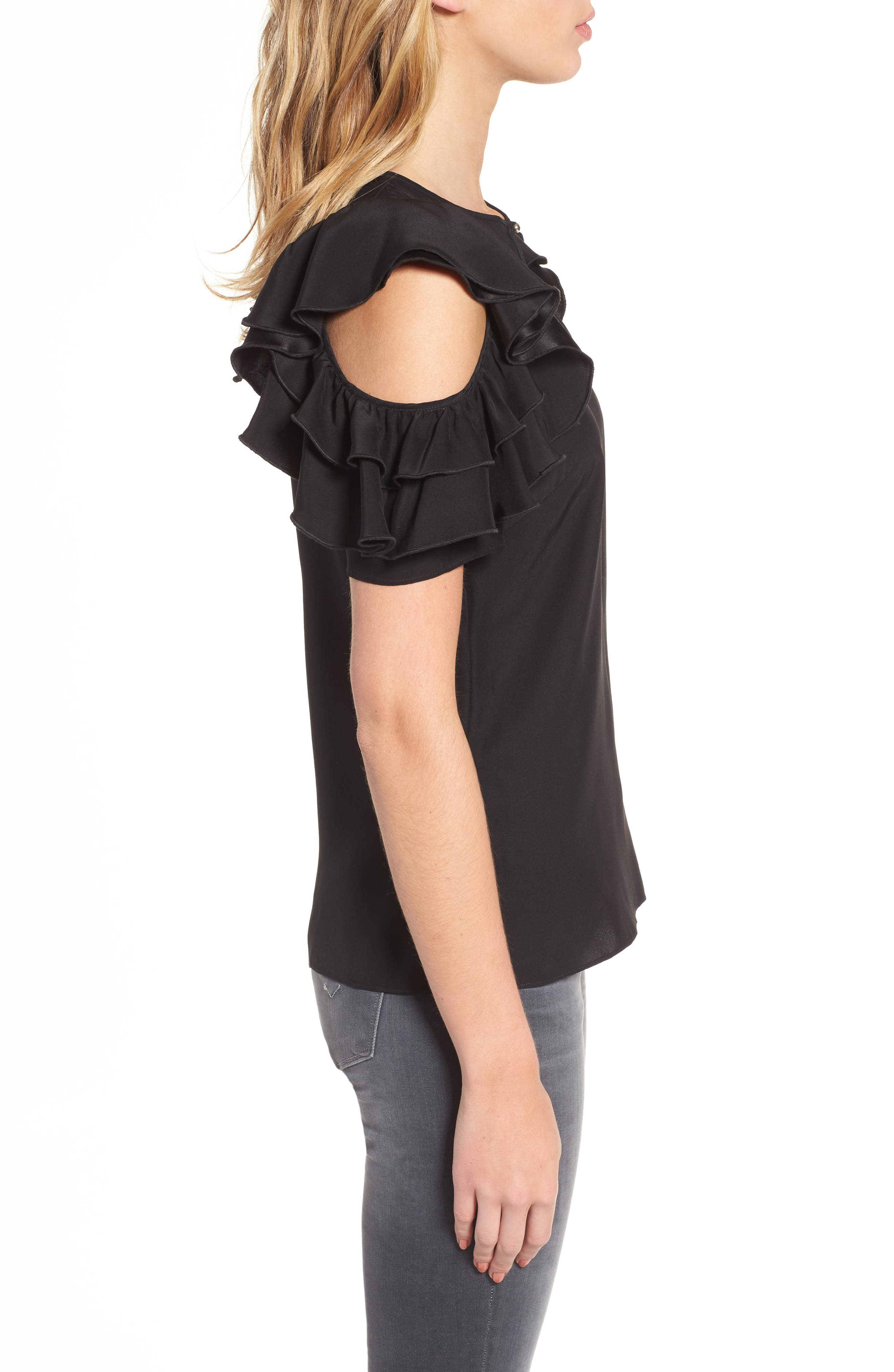 Brandie Cold Shoulder Silk Top,                             Alternate thumbnail 3, color,                             001