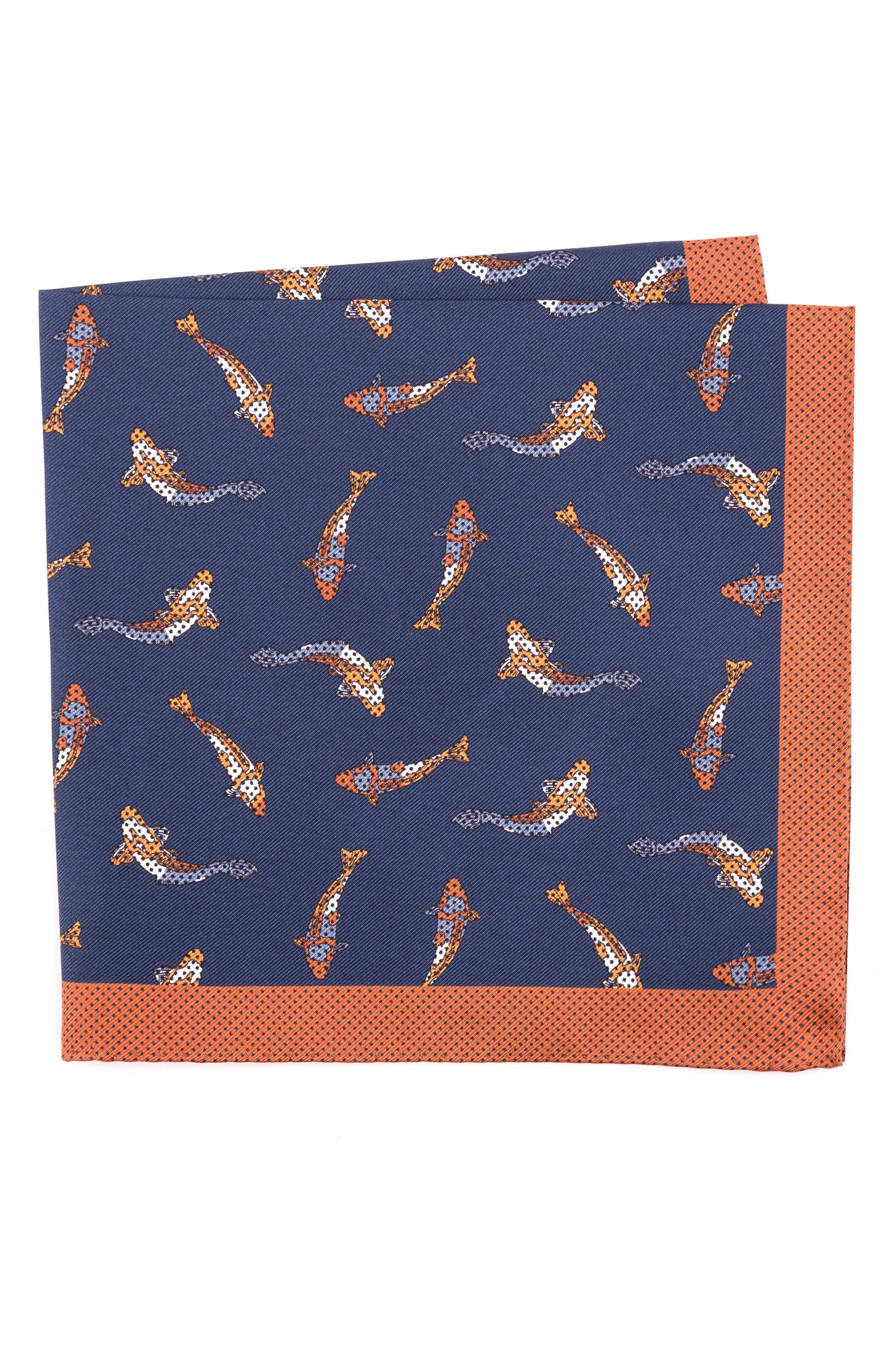 Koi Fish Silk Pocket Square,                             Main thumbnail 3, color,
