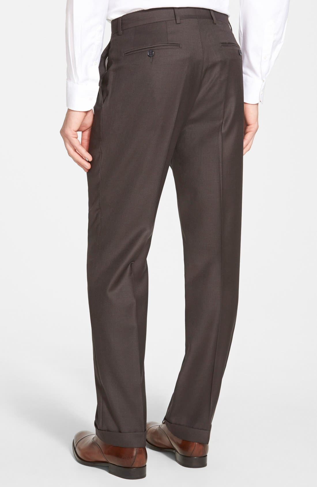 'Luxury Serge' Double Pleated Wool Trousers,                             Alternate thumbnail 3, color,                             ESPRESSO