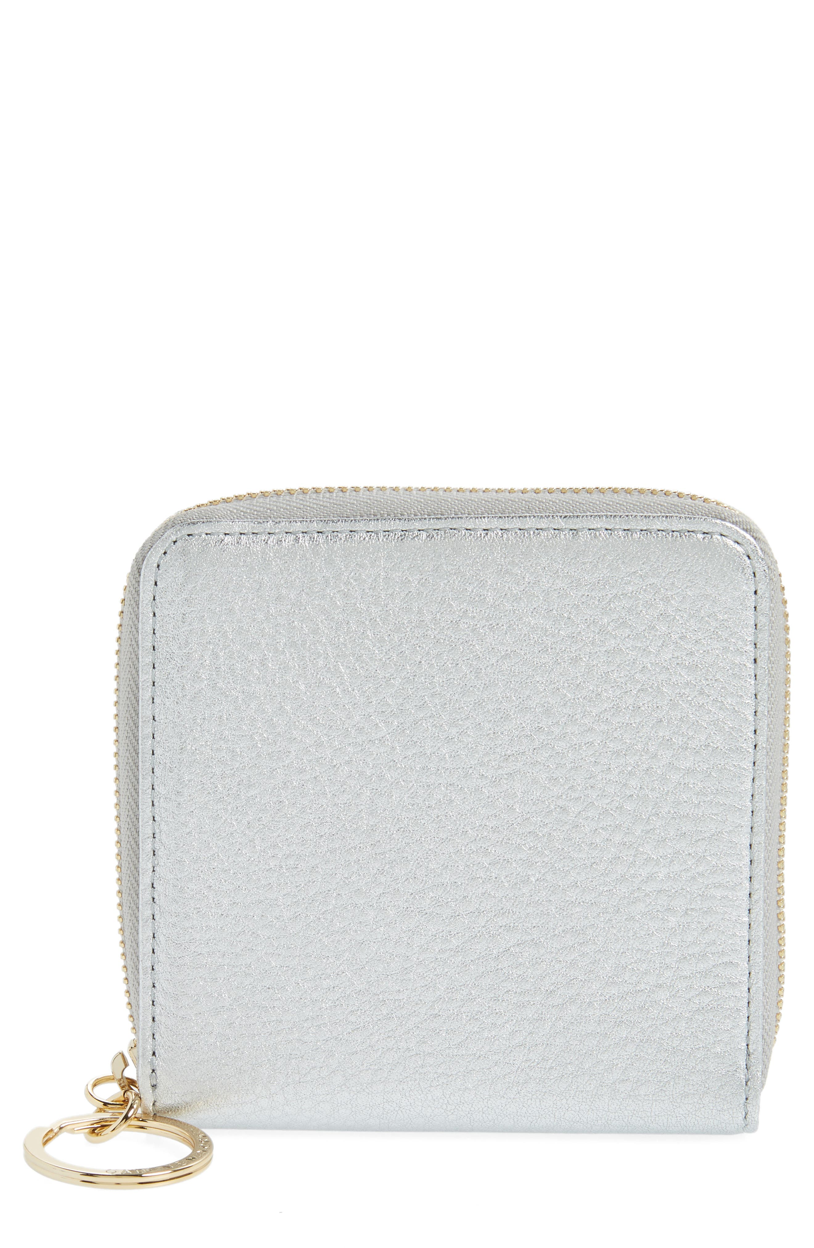 Small Zip Around Leather Wallet,                             Main thumbnail 1, color,                             SILVER