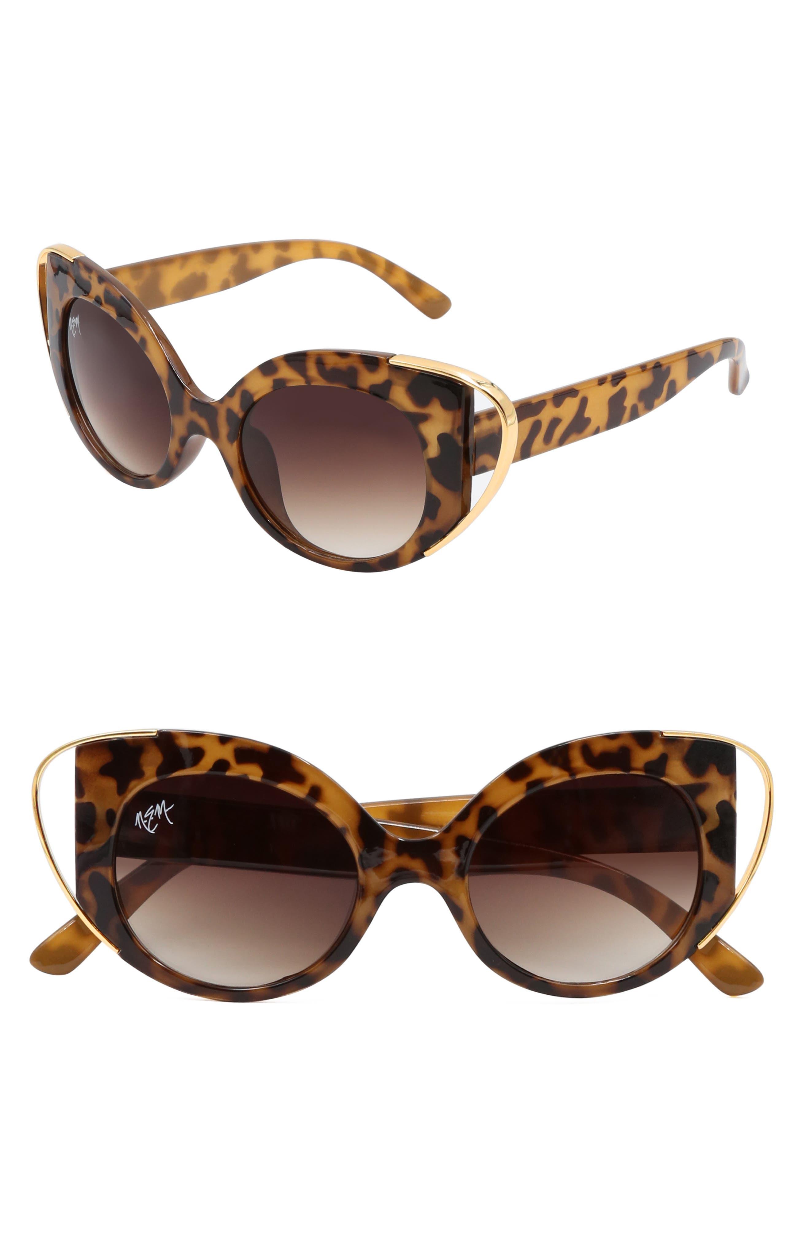 Nem Audrey 50Mm Cutout Cat Eye Sunglasses - Tortoise W Amber Lens