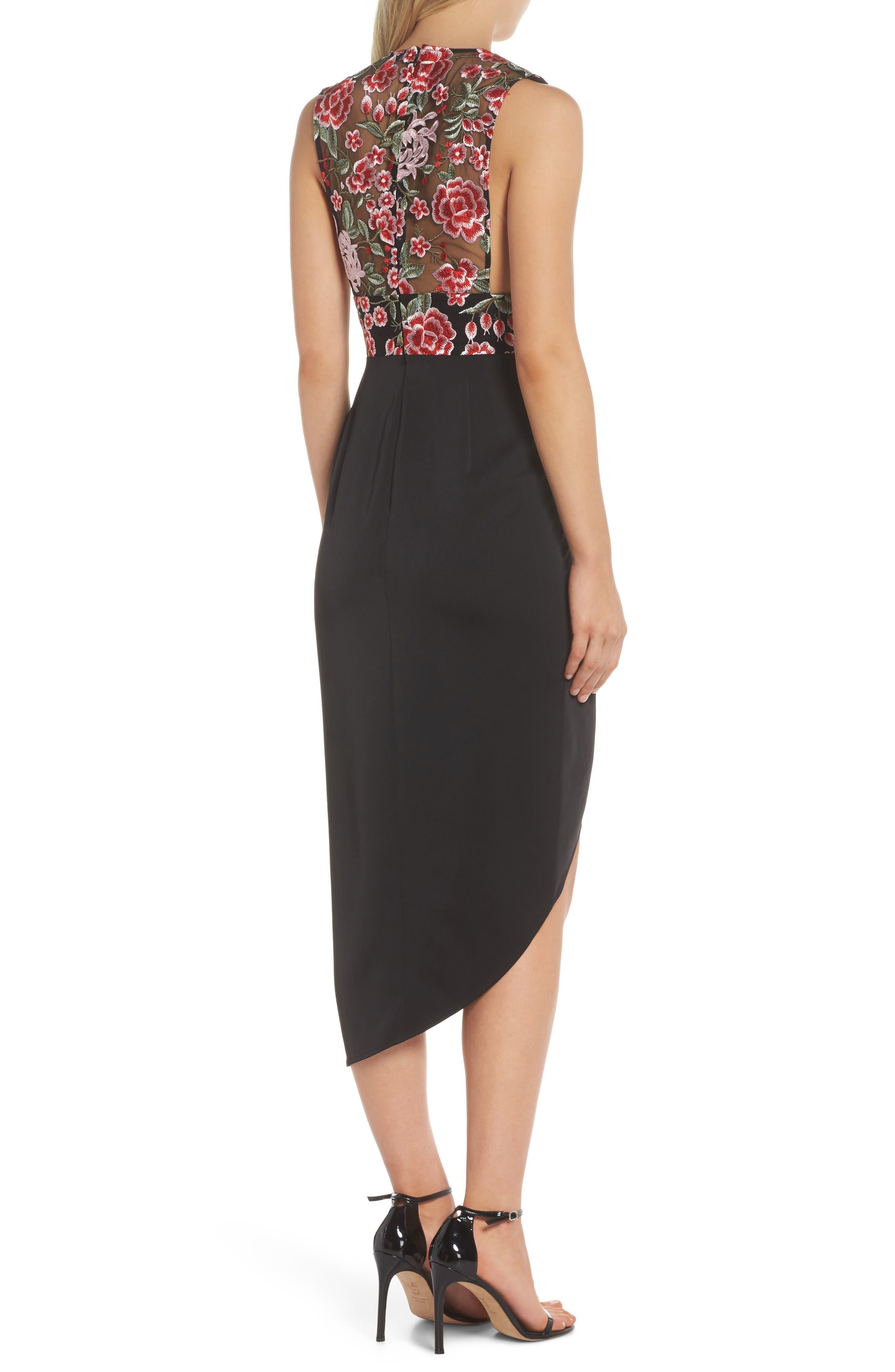 Mila Embroidered Tulip Skirt Dress,                             Alternate thumbnail 2, color,                             001