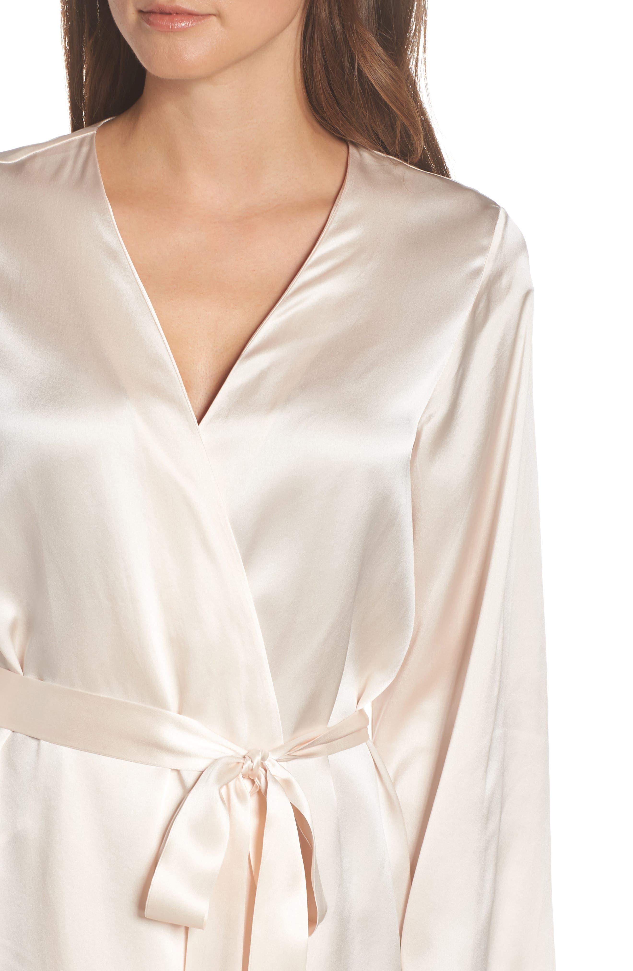 Silk Robe,                             Alternate thumbnail 4, color,                             VANILLA