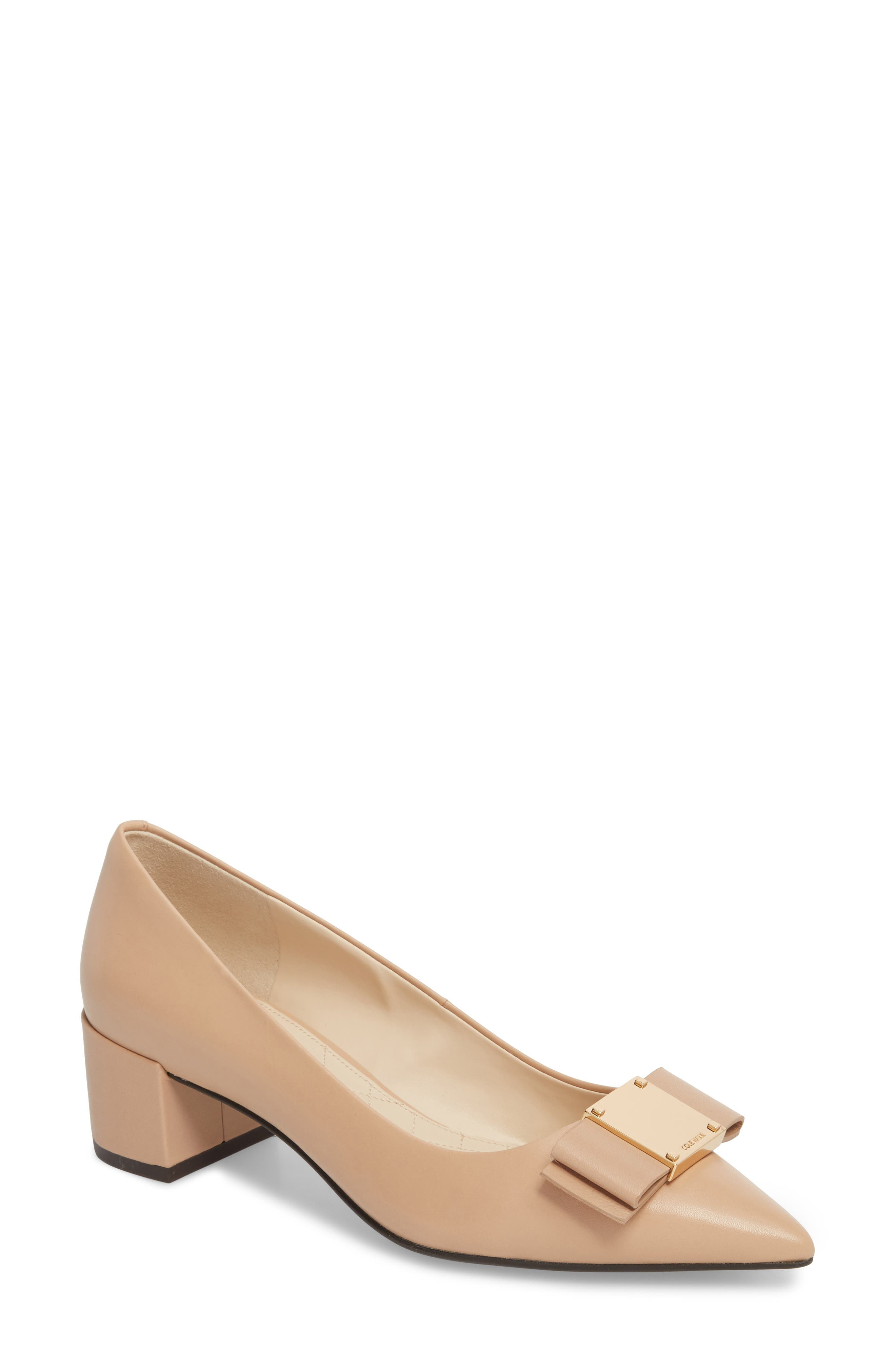 Tali Modern Waterproof Bow Pump,                             Main thumbnail 1, color,                             NUDE LEATHER
