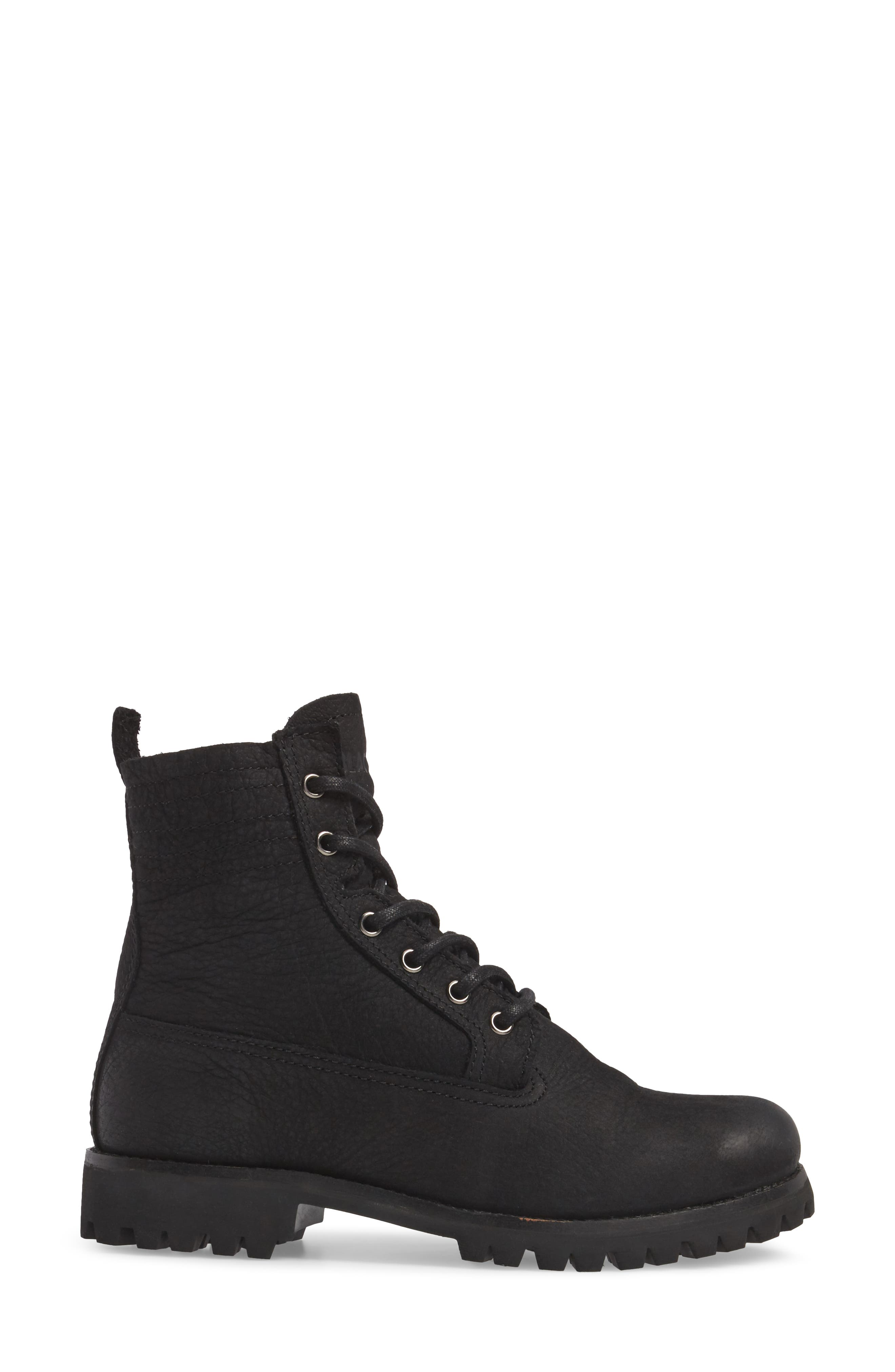 OL22 Lace-Up Boot with Genuine Shearling Lining,                             Alternate thumbnail 3, color,                             BLACK LEATHER