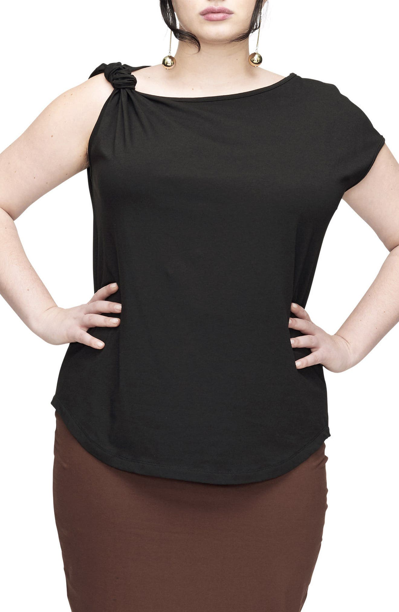 UNIVERSAL STANDARD Knot Jersey Top, Main, color, 001