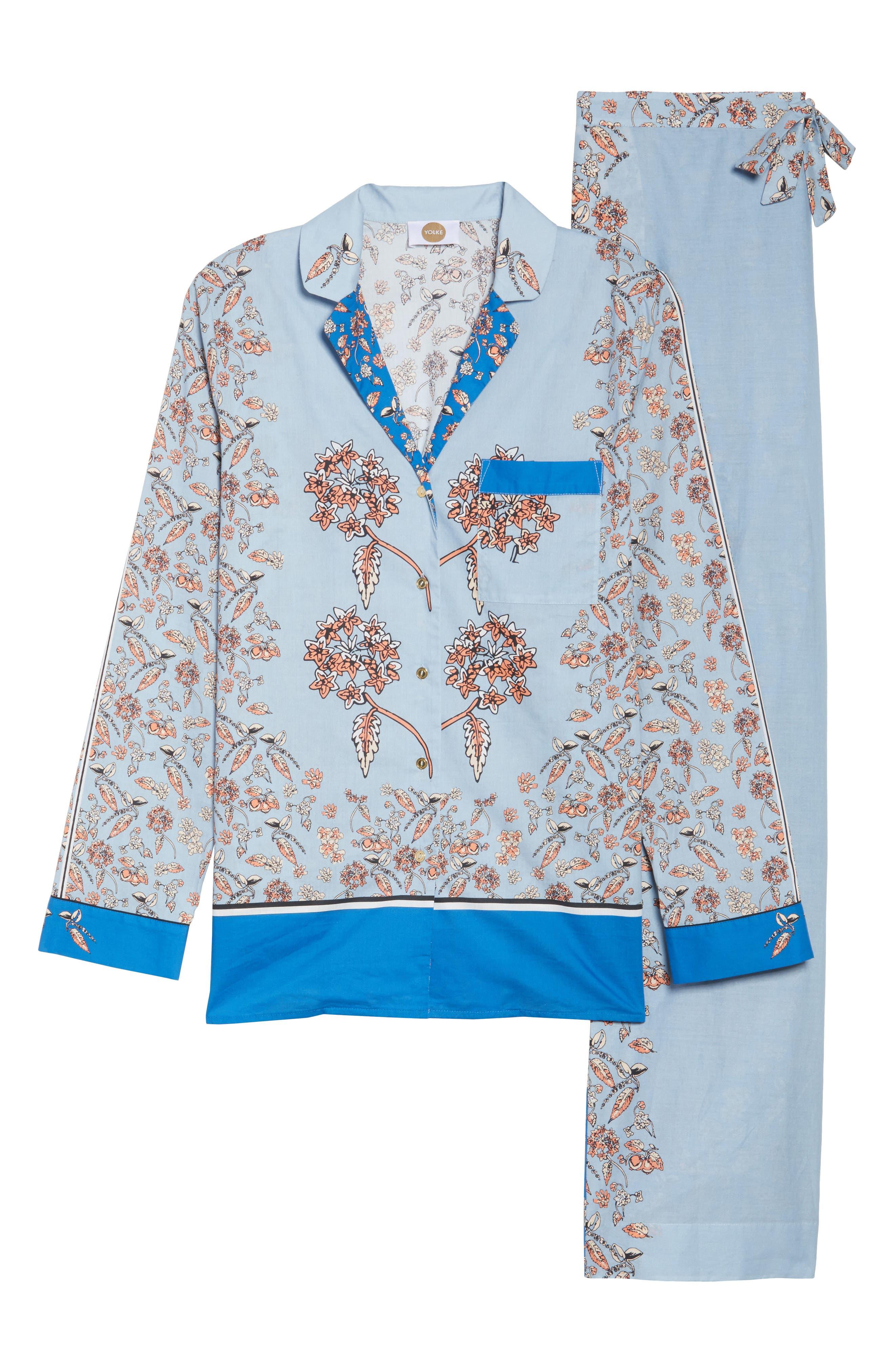 Classic Print Cotton Poplin Pajamas,                             Alternate thumbnail 6, color,                             400