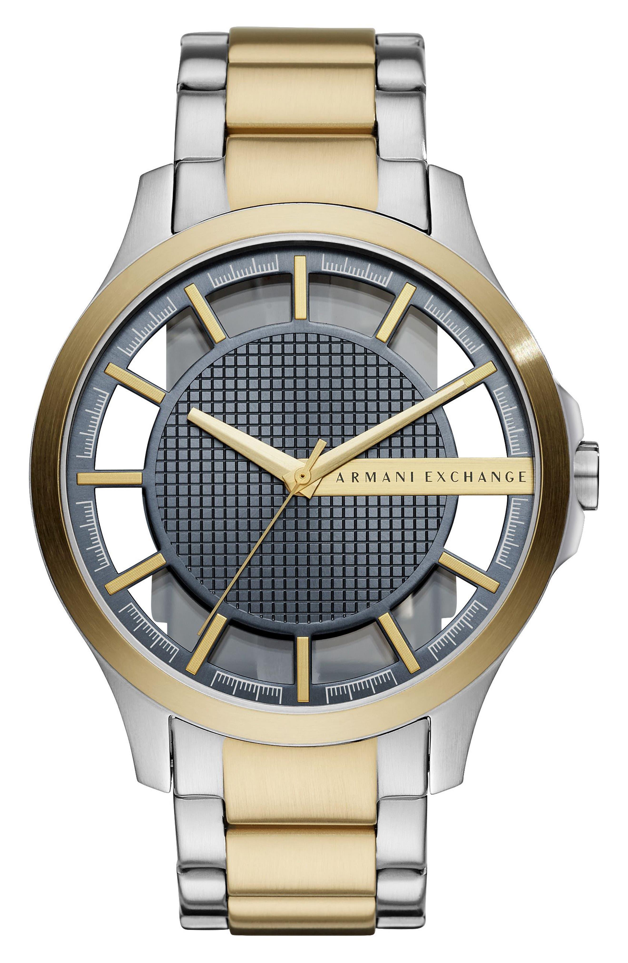 Two-Tone Bracelet Watch, 46mm,                             Main thumbnail 1, color,                             GUNMETAL/ STEEL/ GOLD