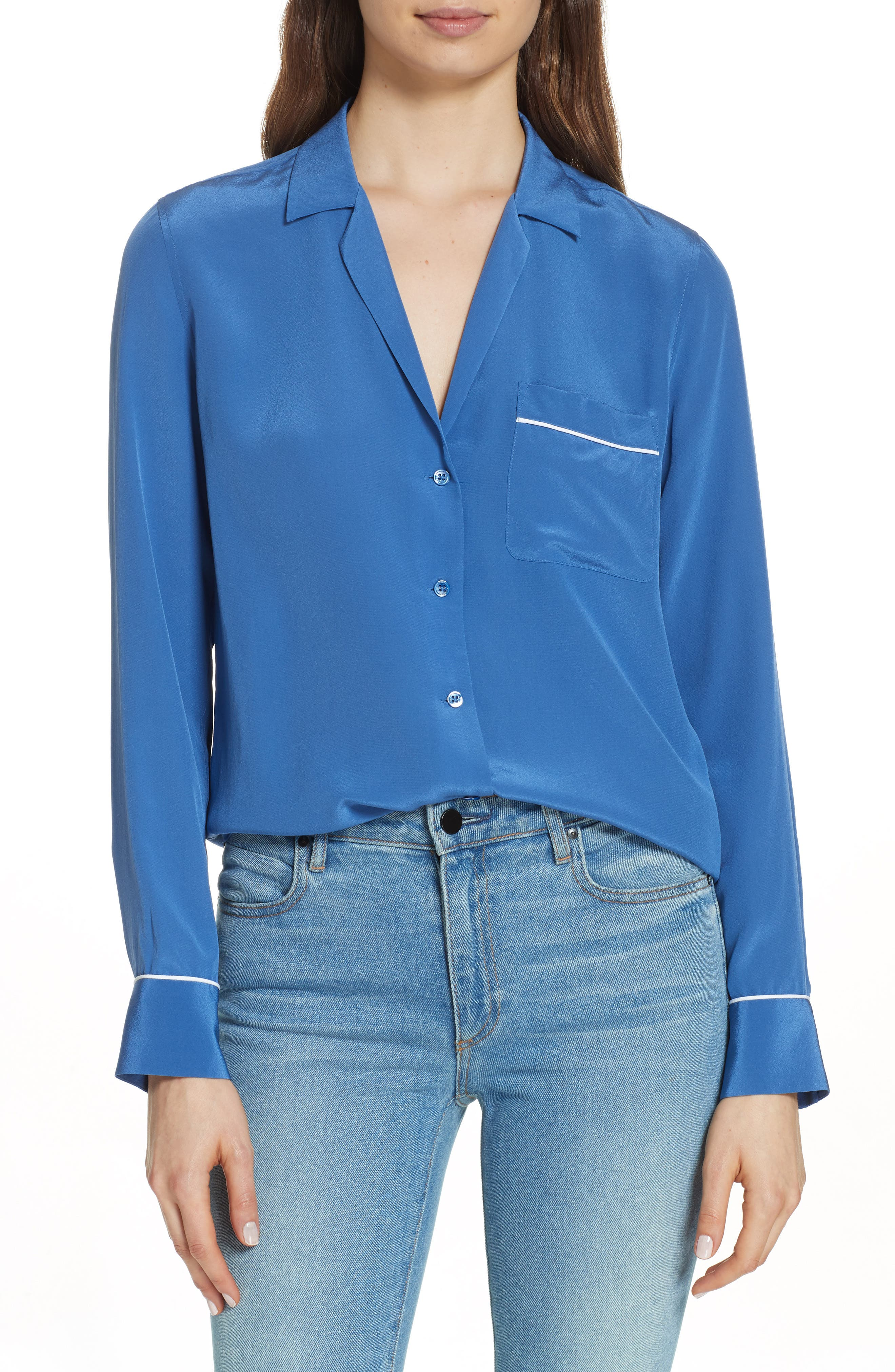 Keira Piped Silk Shirt,                             Main thumbnail 1, color,                             LETTERMAN BLUE