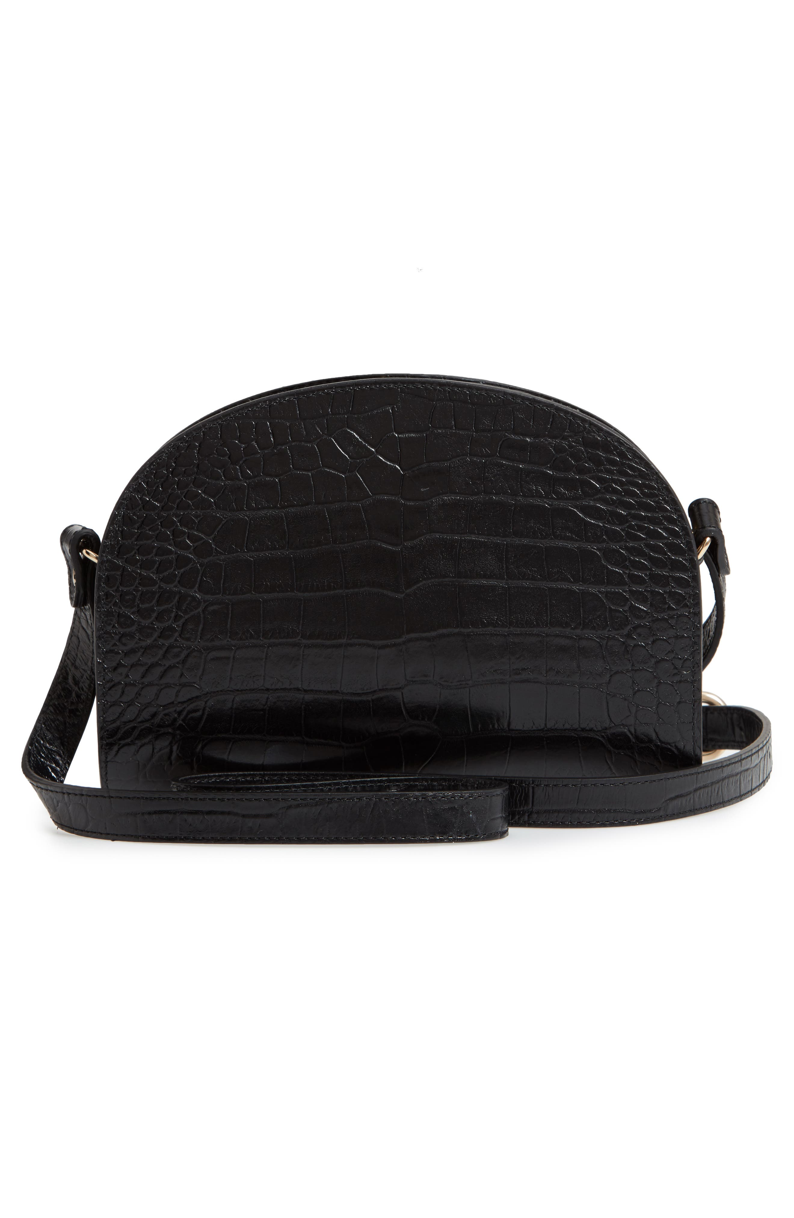 Sac Demi Lune Leather Shoulder Bag,                             Alternate thumbnail 3, color,                             001