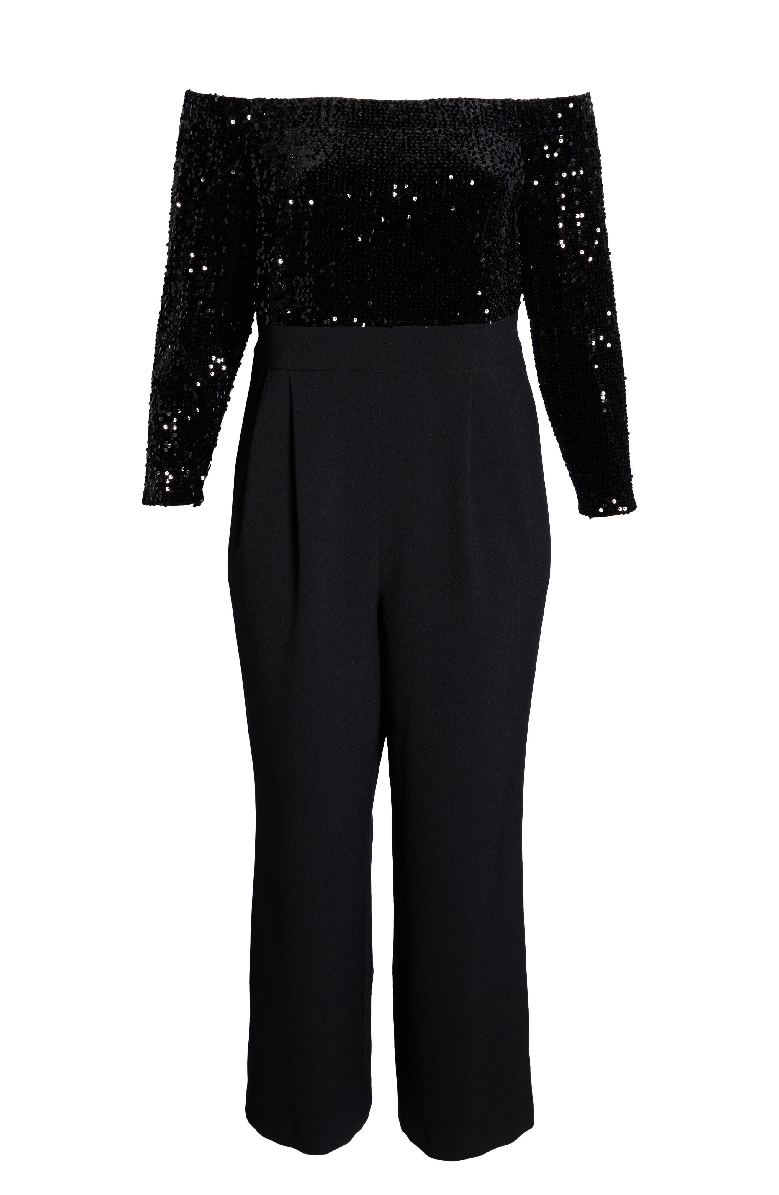 Off the Shoulder Sequin Velvet & Crepe Jumpsuit,                             Alternate thumbnail 7, color,                             BLACK