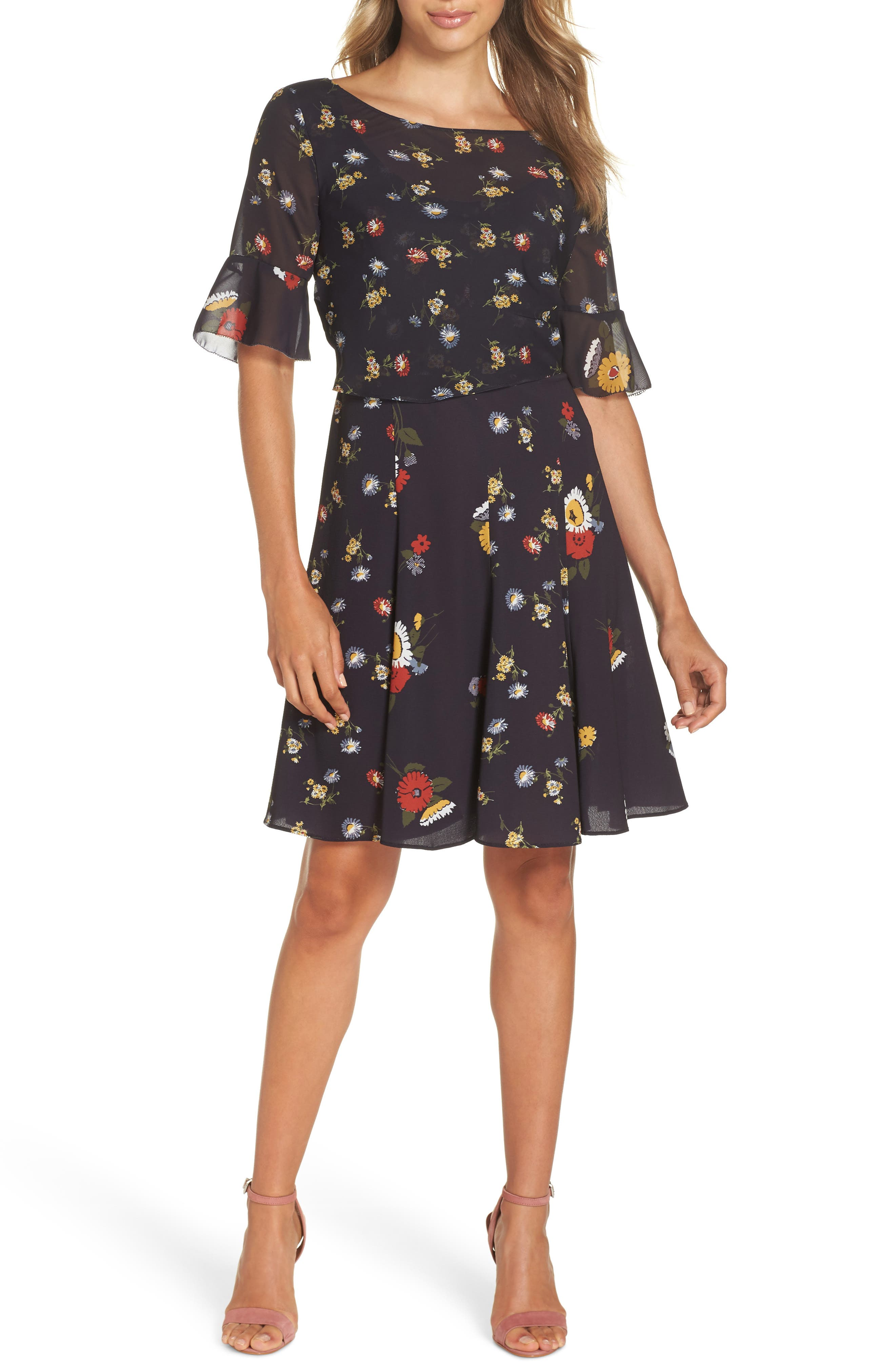 French Connection Baudet Print Fit & Flare Dress, Blue